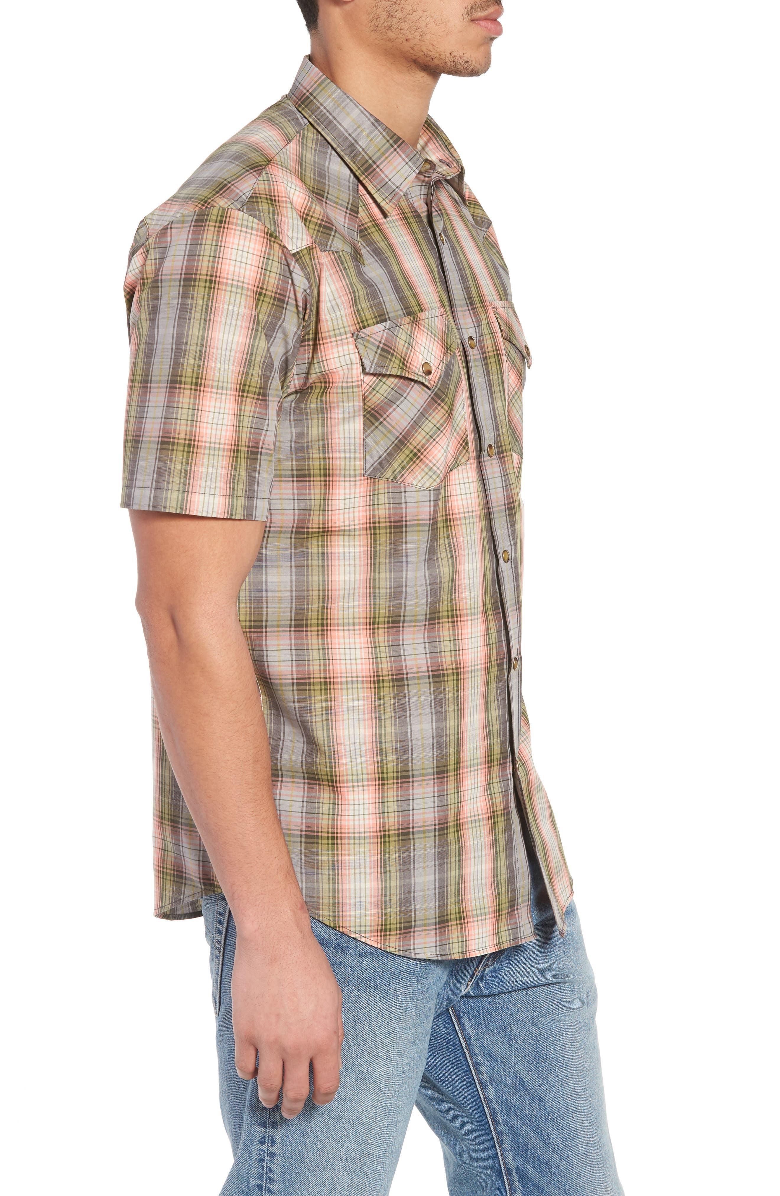Frontier Regular Fit Plaid Short Sleeve Sport Shirt,                             Alternate thumbnail 5, color,