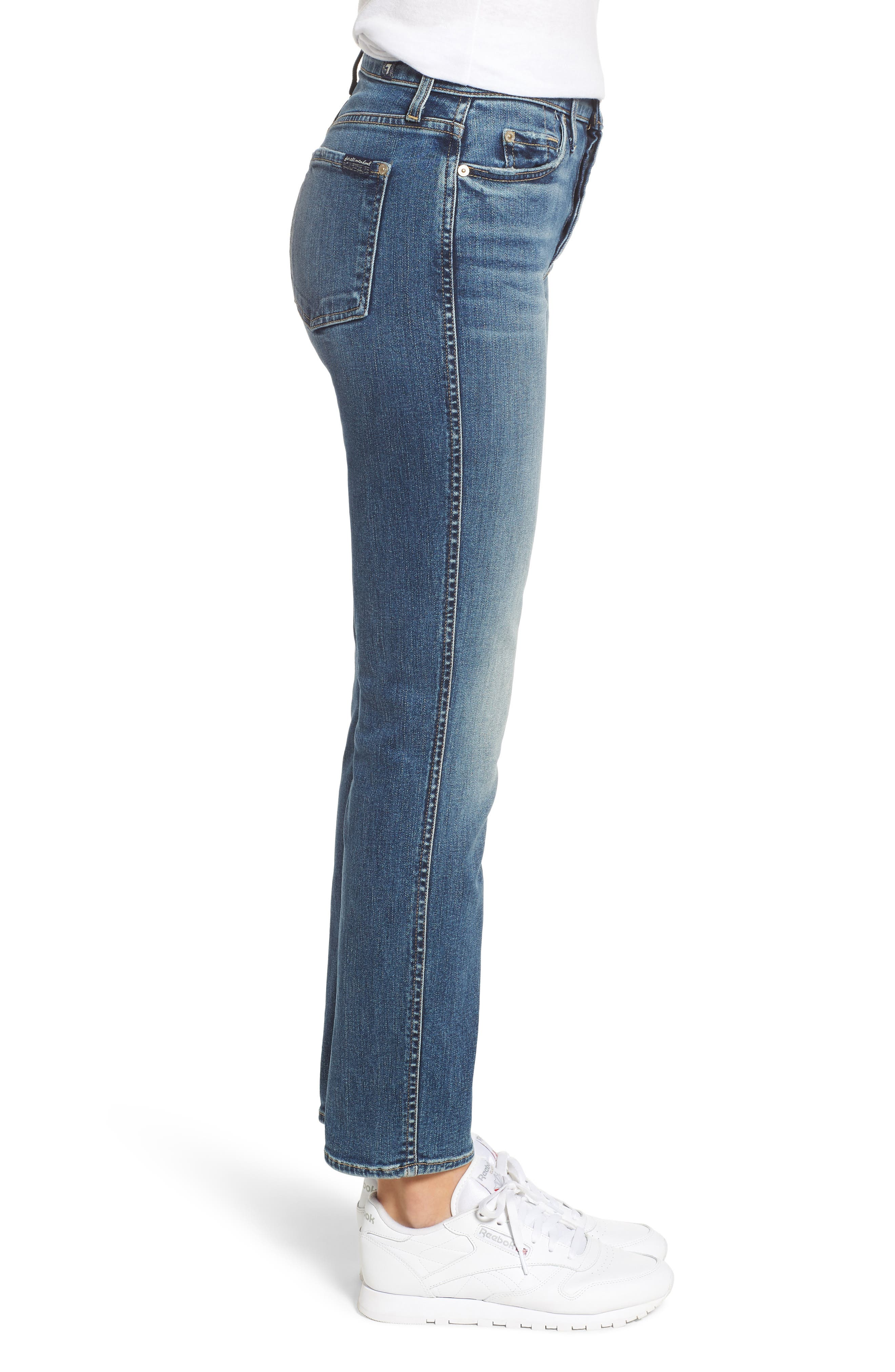 7 FOR ALL MANKIND<SUP>®</SUP>,                             Edie High Waist Ankle Straight Leg Jeans,                             Alternate thumbnail 3, color,                             AUTHENTIC MEDIUM