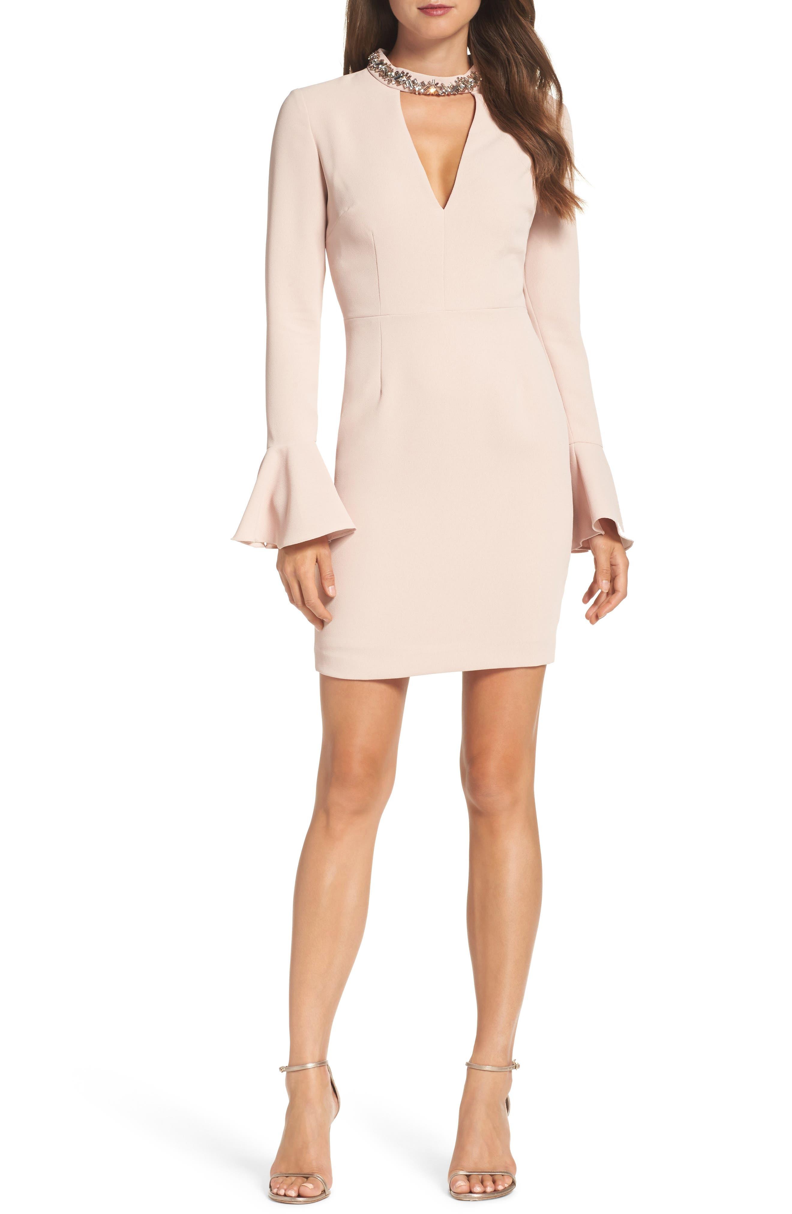 Crystal Choker Bell Sleeve Sheath Dress,                             Main thumbnail 2, color,
