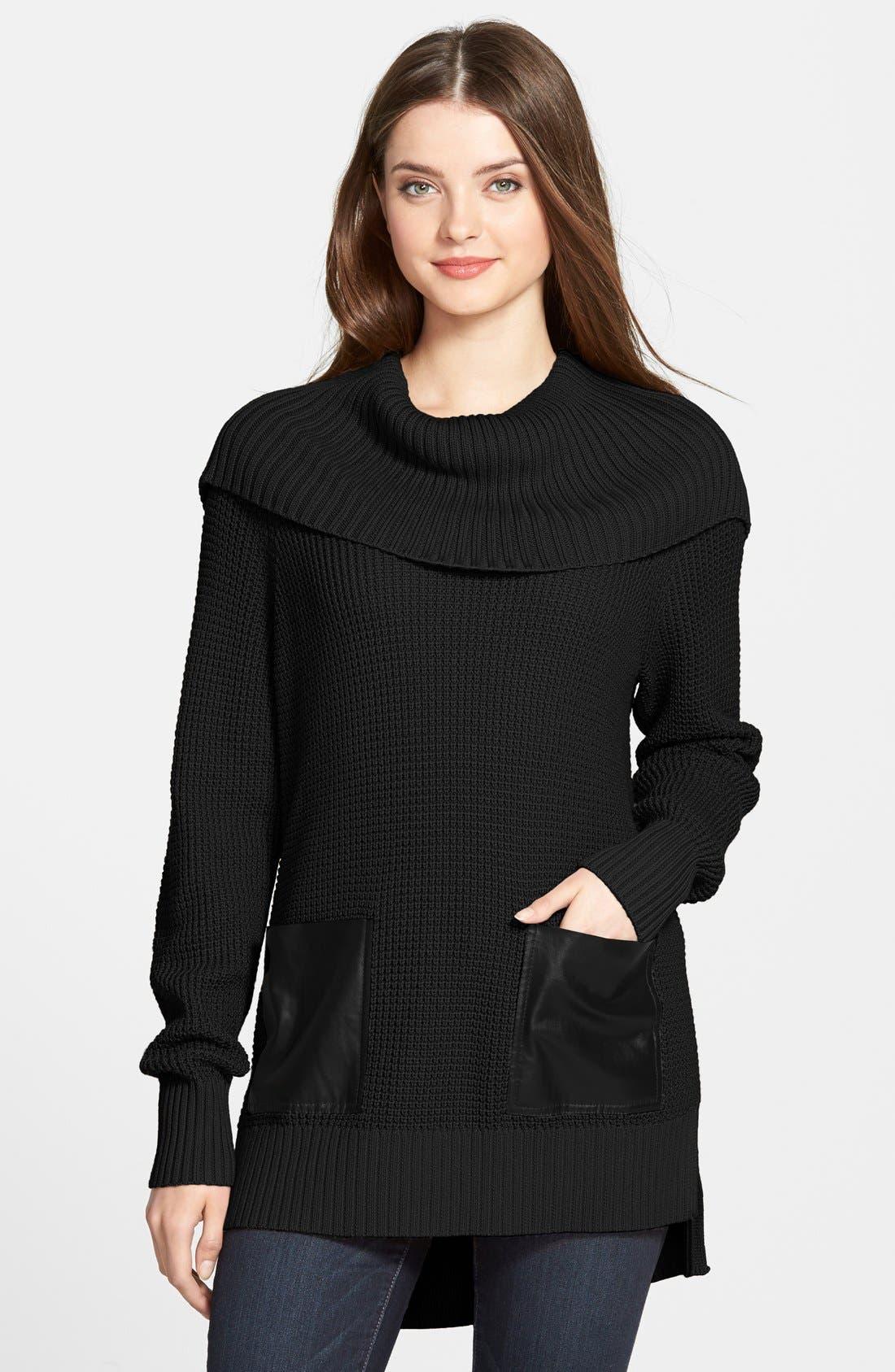 MICHAEL MICHAEL KORS Faux Leather Pocket Cowl Neck Sweater, Main, color, 001