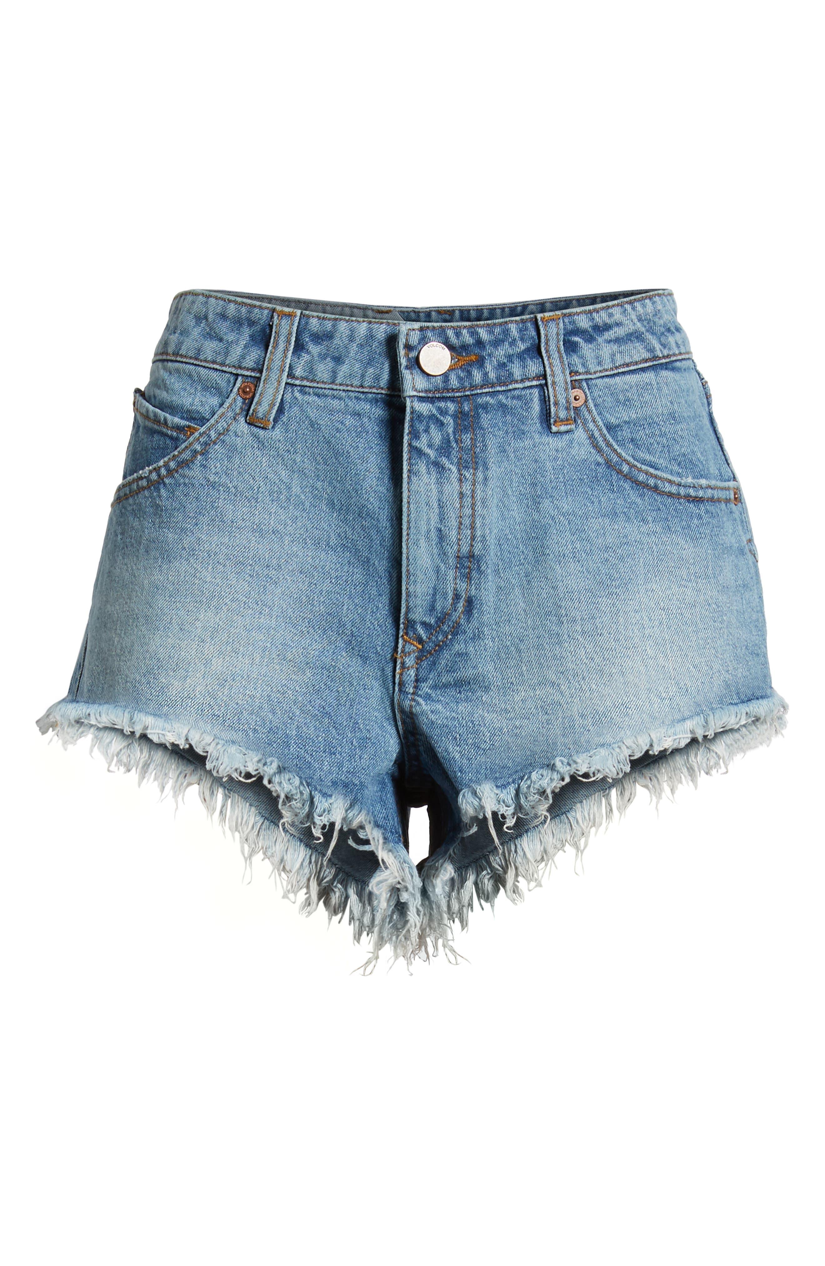 Stoney Cutoff Denim Shorts,                             Alternate thumbnail 7, color,                             BAJA INDIGO