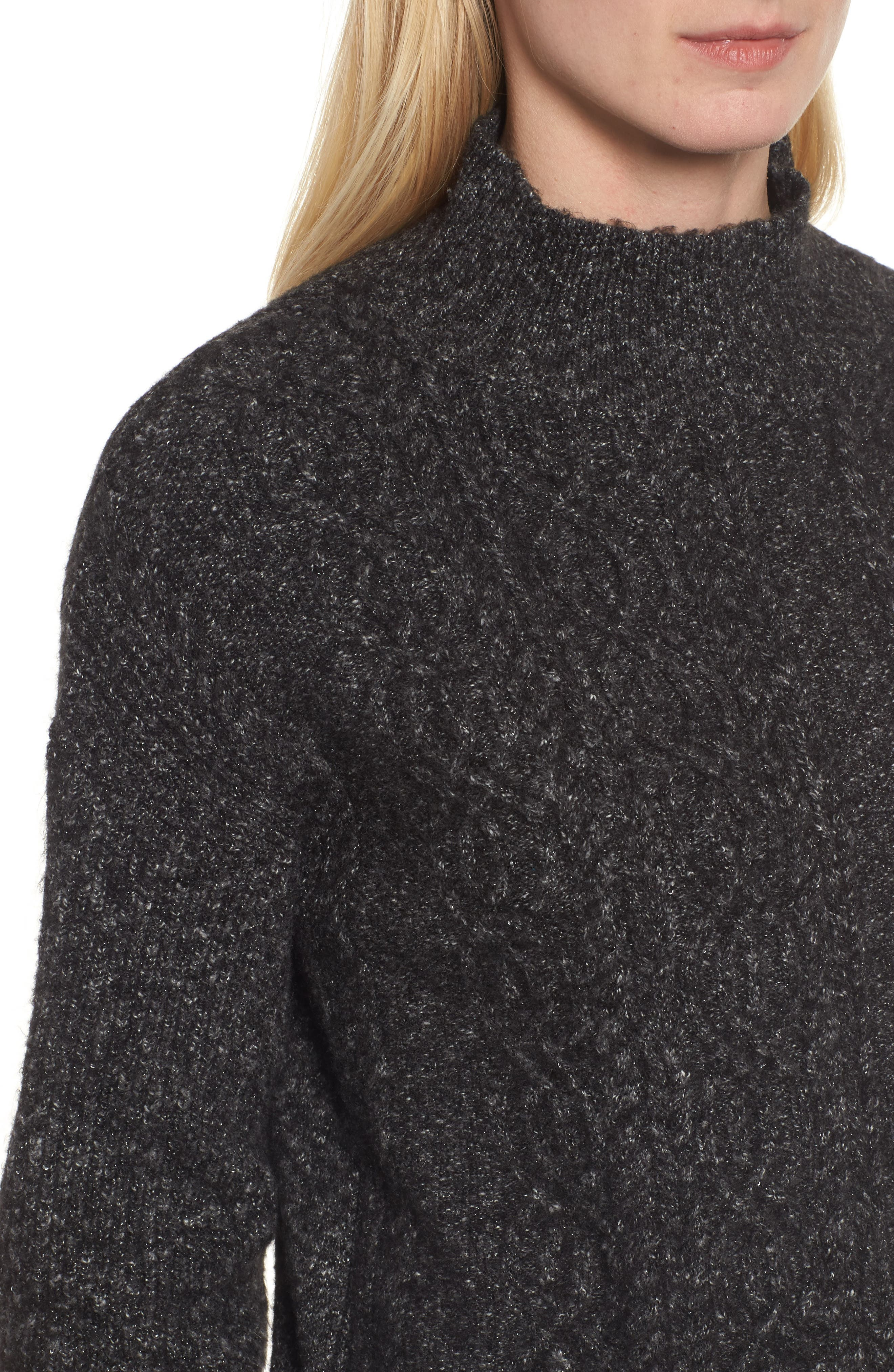 Mock Neck Cable Knit Sweater,                             Alternate thumbnail 4, color,                             030