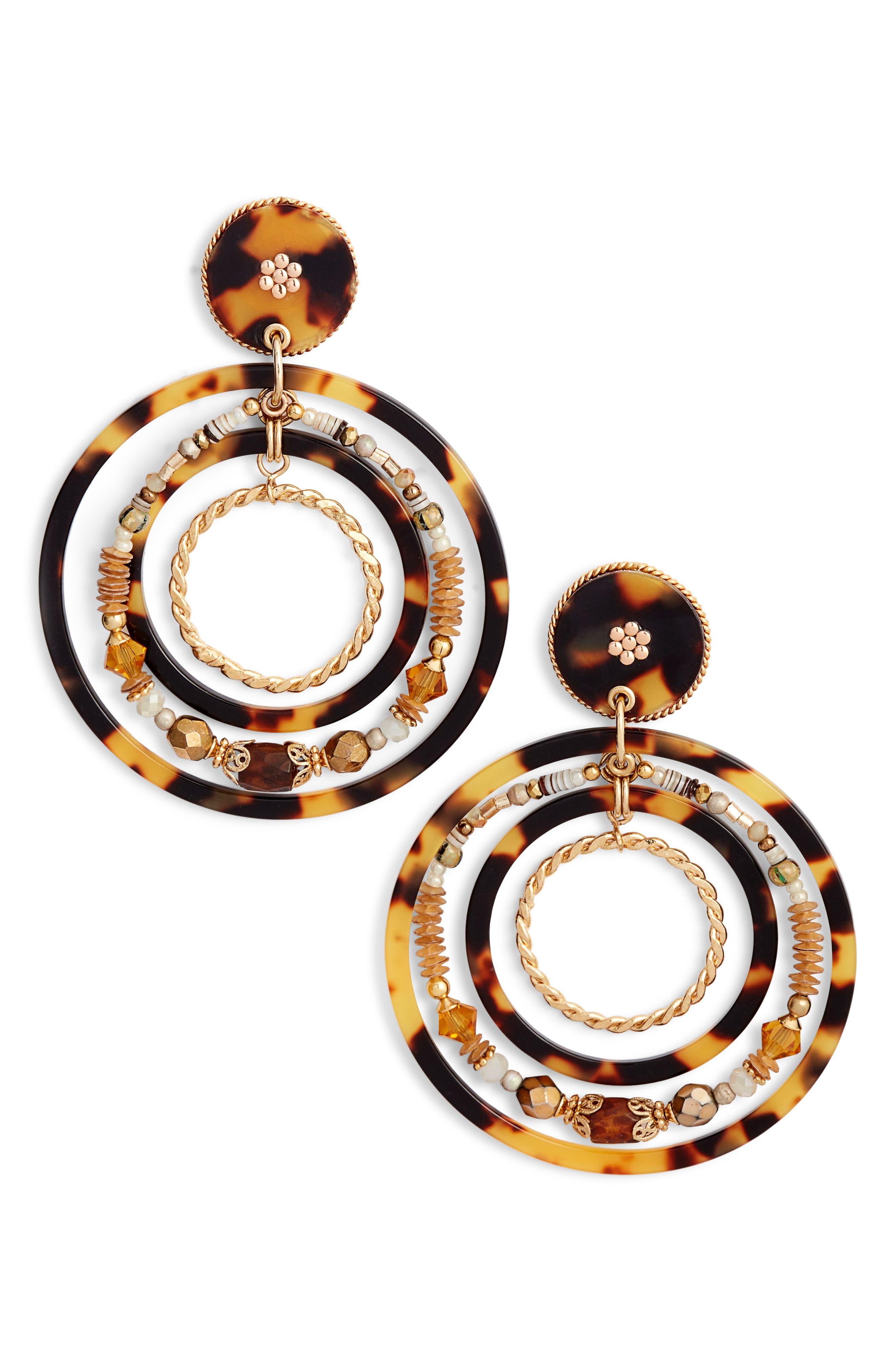 Alexia Hoop Earrings,                             Main thumbnail 1, color,                             ACETATE BROWN