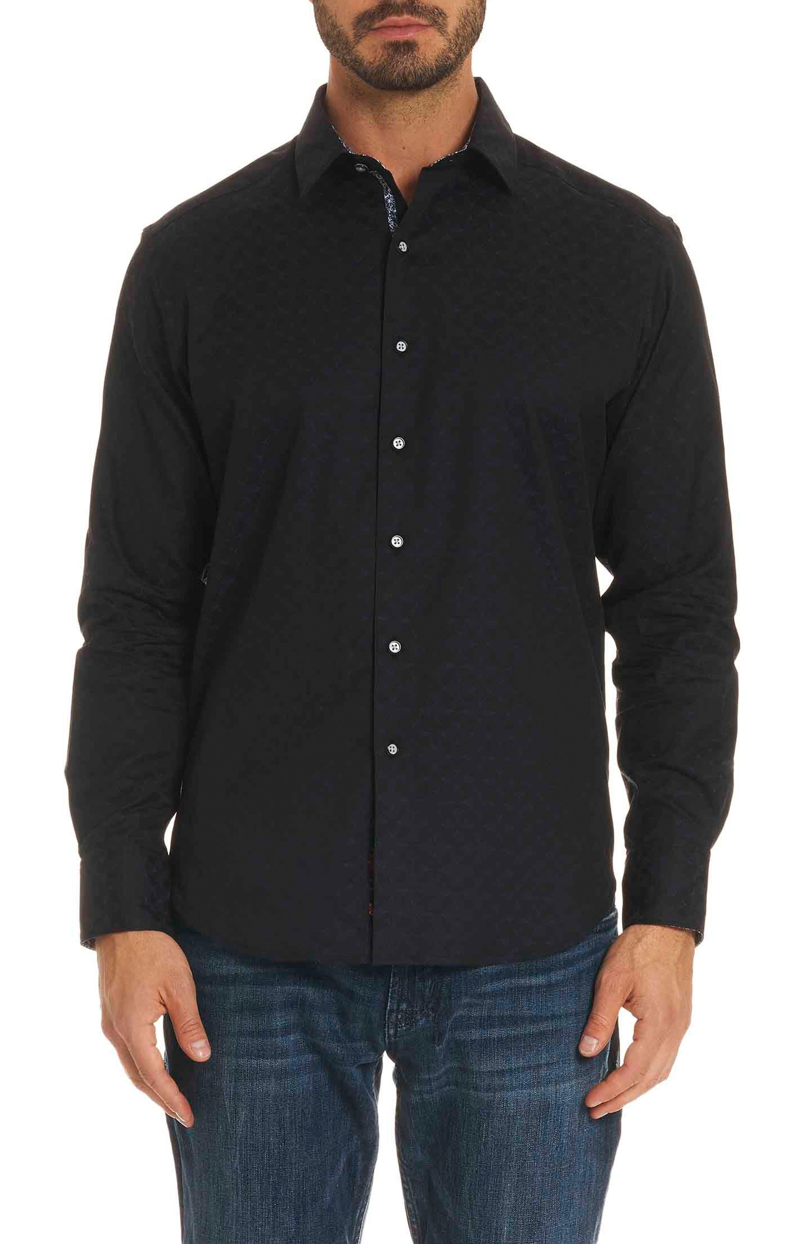 Diamante Classic Fit Print Sport Shirt,                             Main thumbnail 1, color,                             BLACK