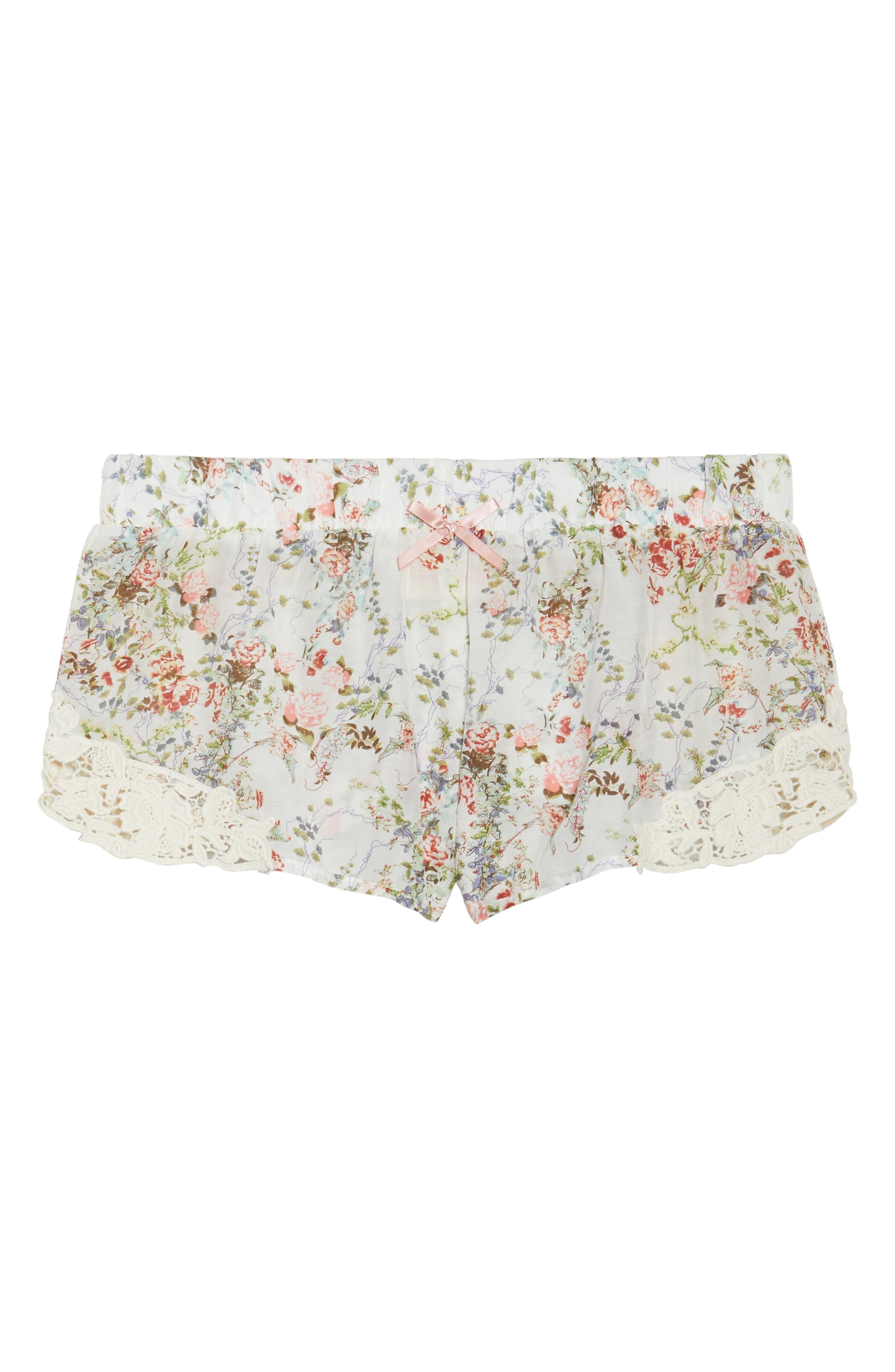 Yolly Floral Pajama Shorts,                             Alternate thumbnail 6, color,                             IVORY FLORAL