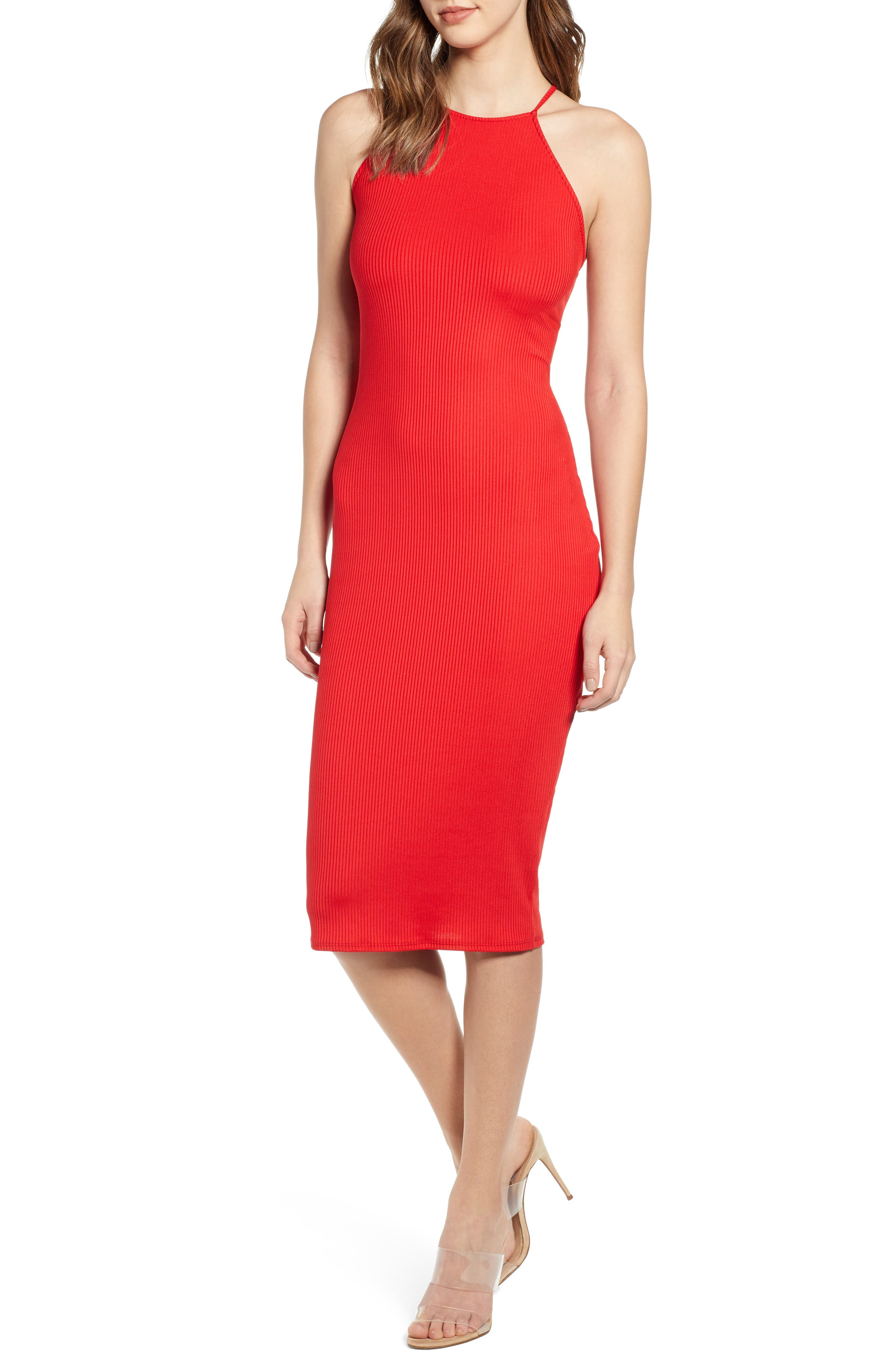 Leith Cutout Slipdress, Red