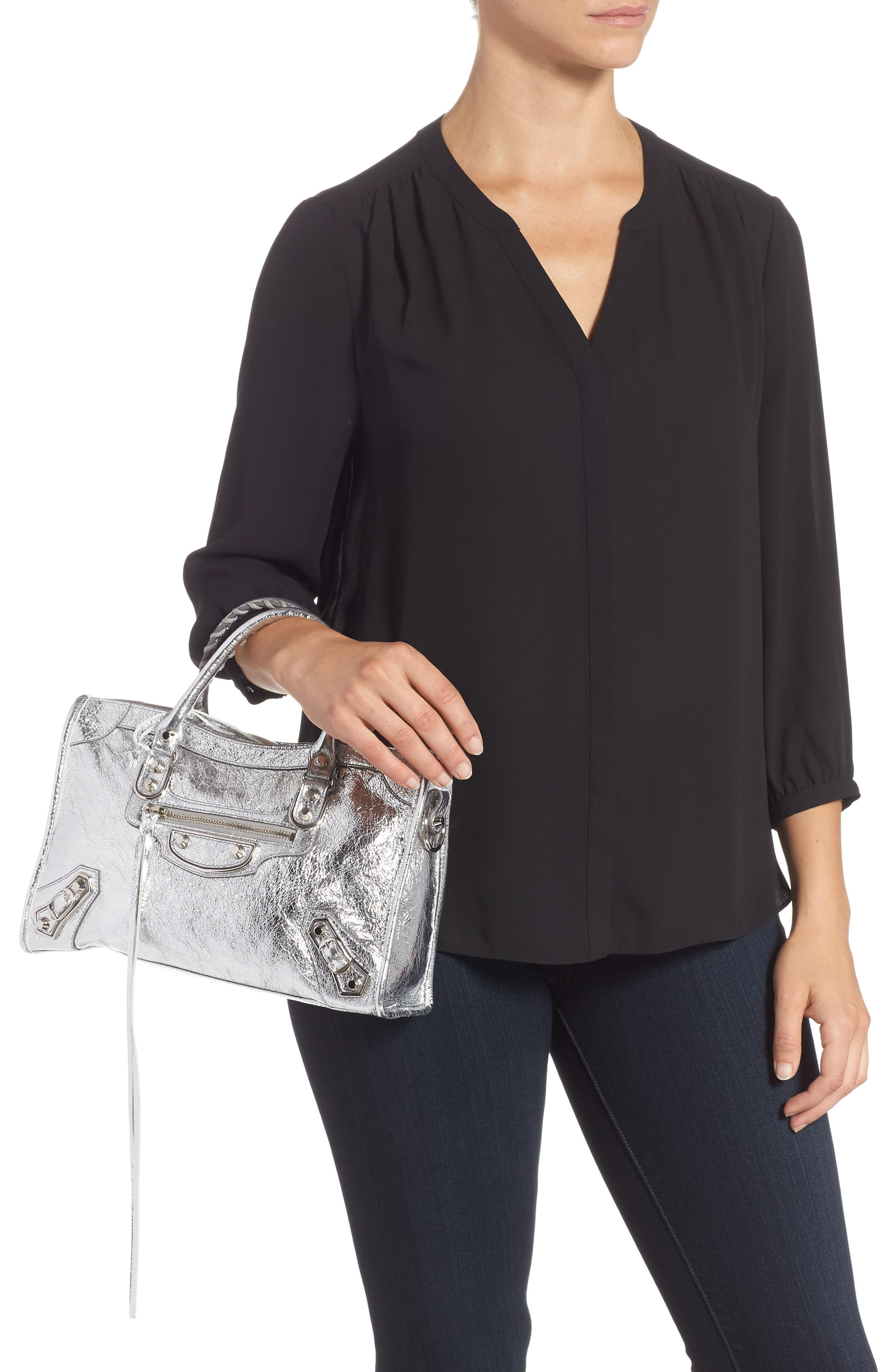 Small Metallic Edge City Leather Tote,                             Alternate thumbnail 2, color,                             ARGENT