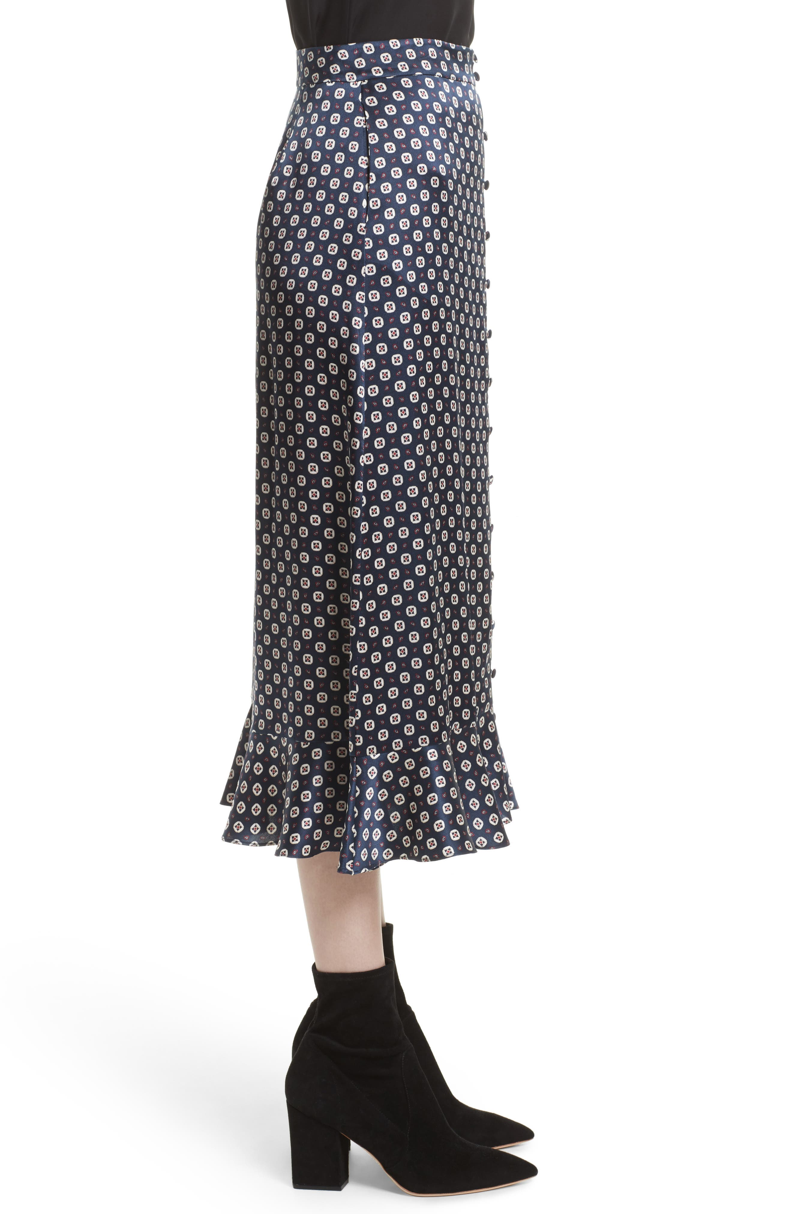 Print Silk Midi Skirt,                             Alternate thumbnail 3, color,                             401