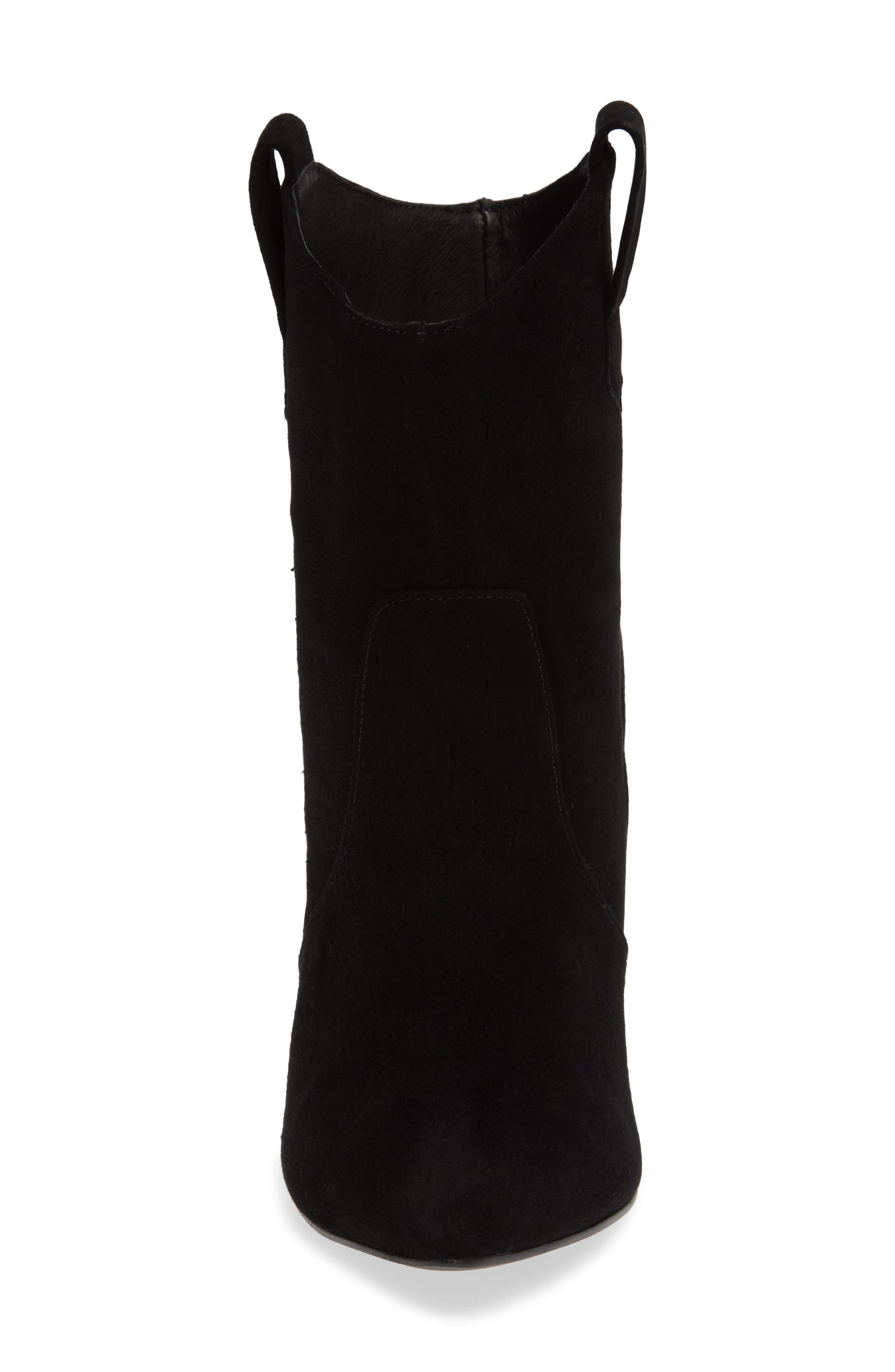 Karly Suede Bootie,                             Alternate thumbnail 4, color,                             BLACK SUEDE