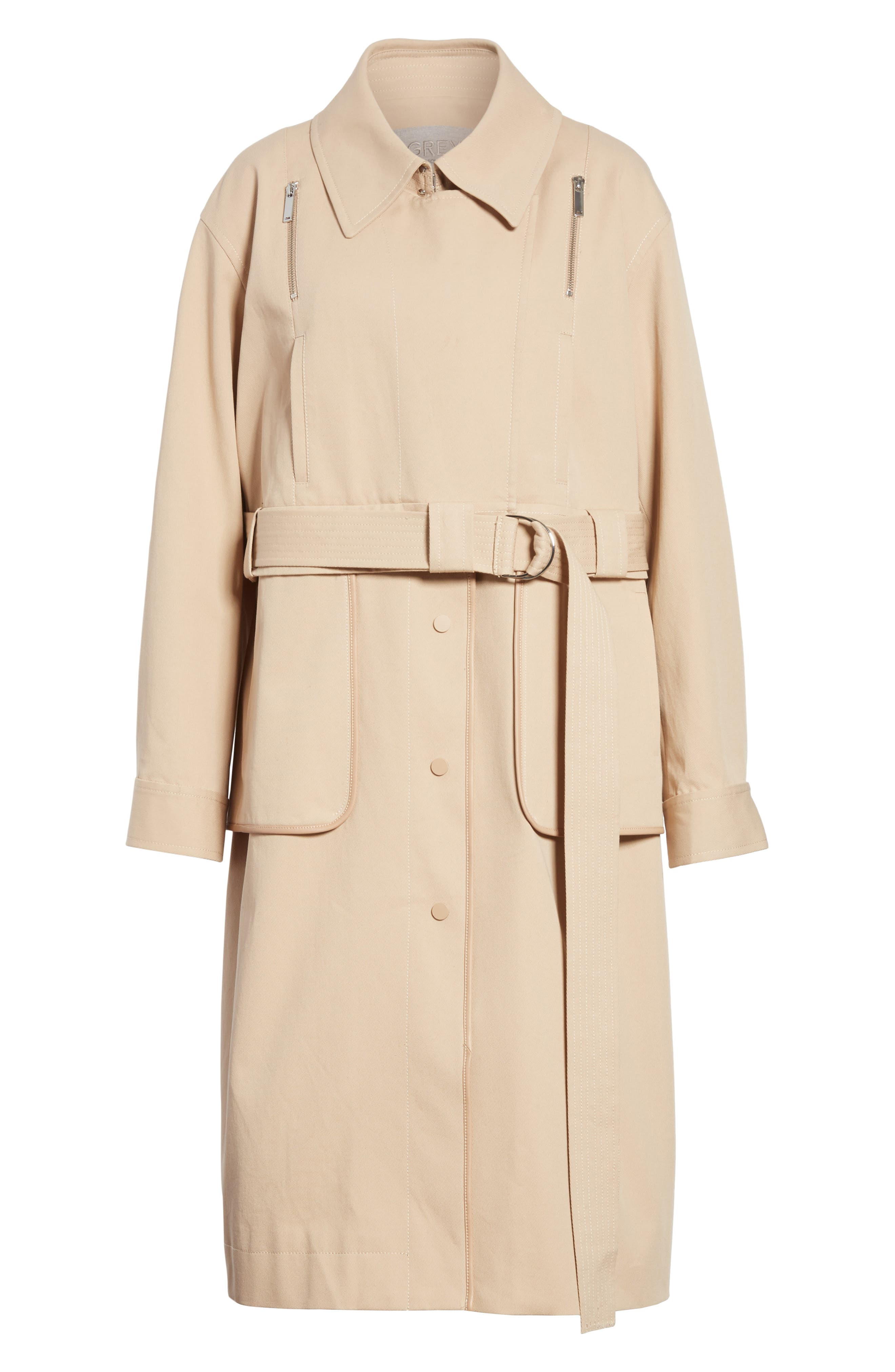 Sailor Stretch Twill Convertible Trench Coat,                             Alternate thumbnail 6, color,                             FAWN