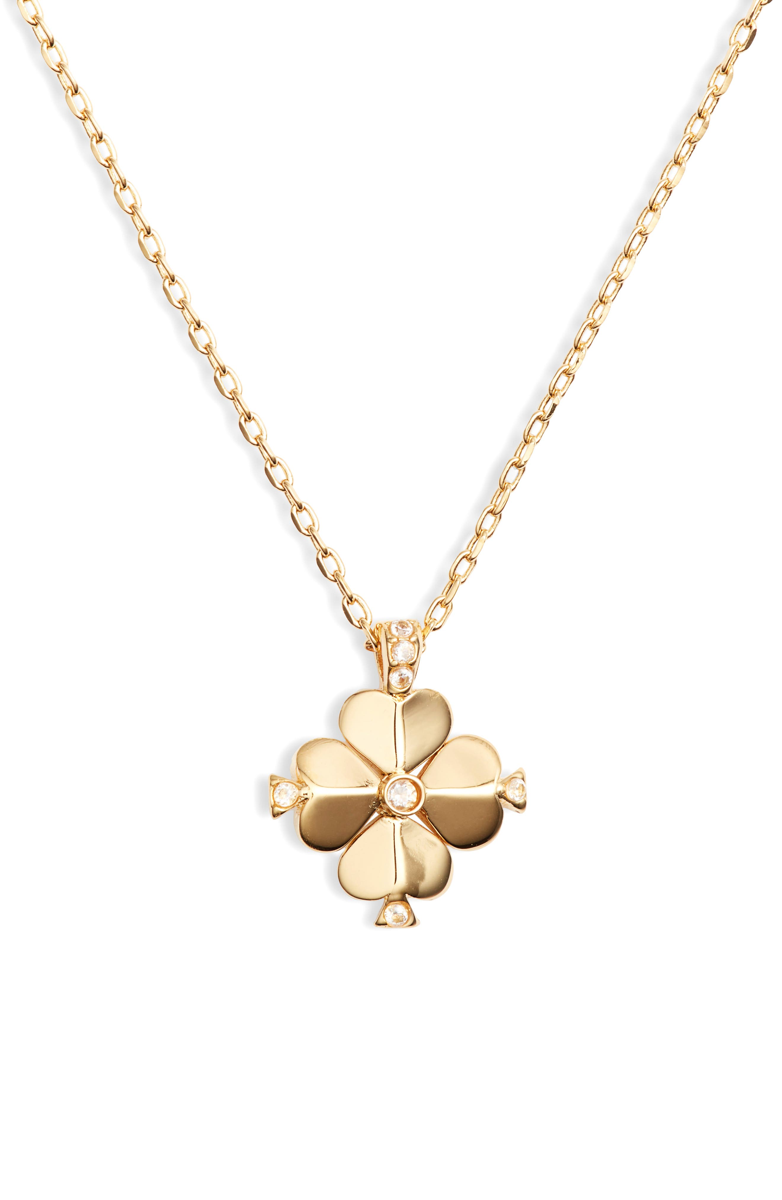 KATE SPADE NEW YORK,                             spade flower pendant necklace,                             Main thumbnail 1, color,                             CLEAR/ GOLD