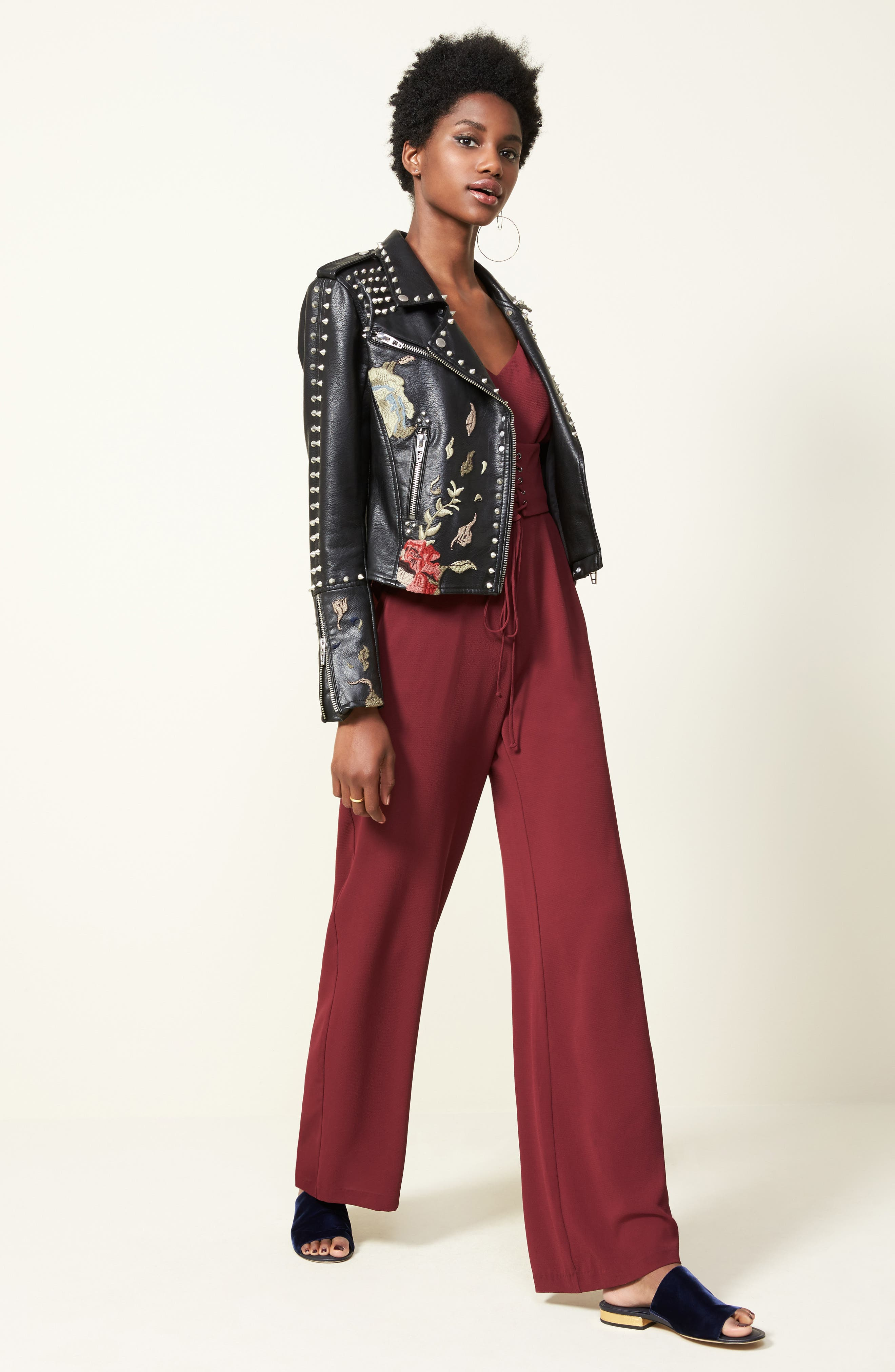Embroidered Studded Moto Jacket,                             Alternate thumbnail 7, color,                             001