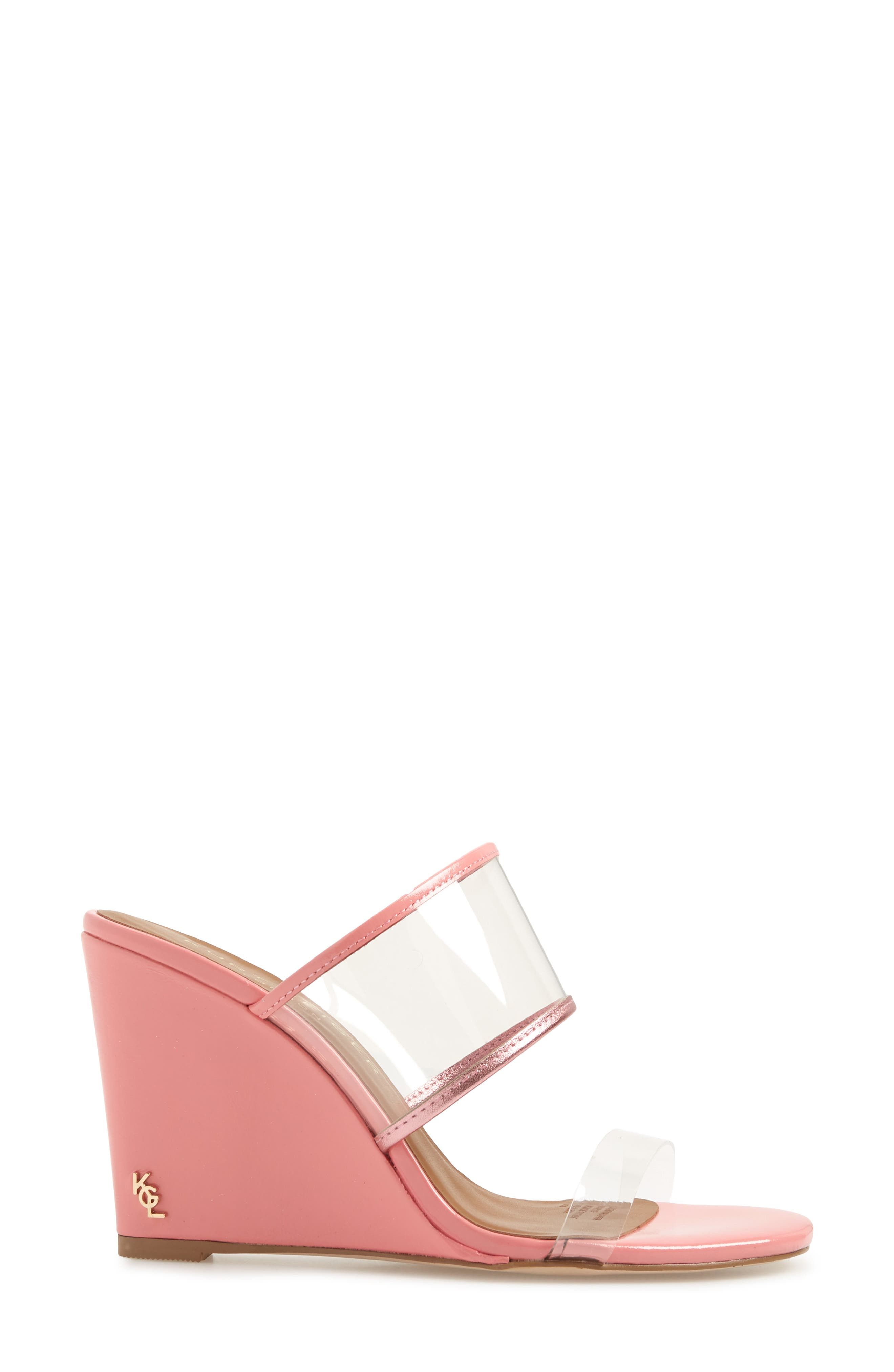 KURT GEIGER LONDON,                             Charing Wedge Slide Sandal,                             Alternate thumbnail 3, color,                             PINK FAUX LEATHER