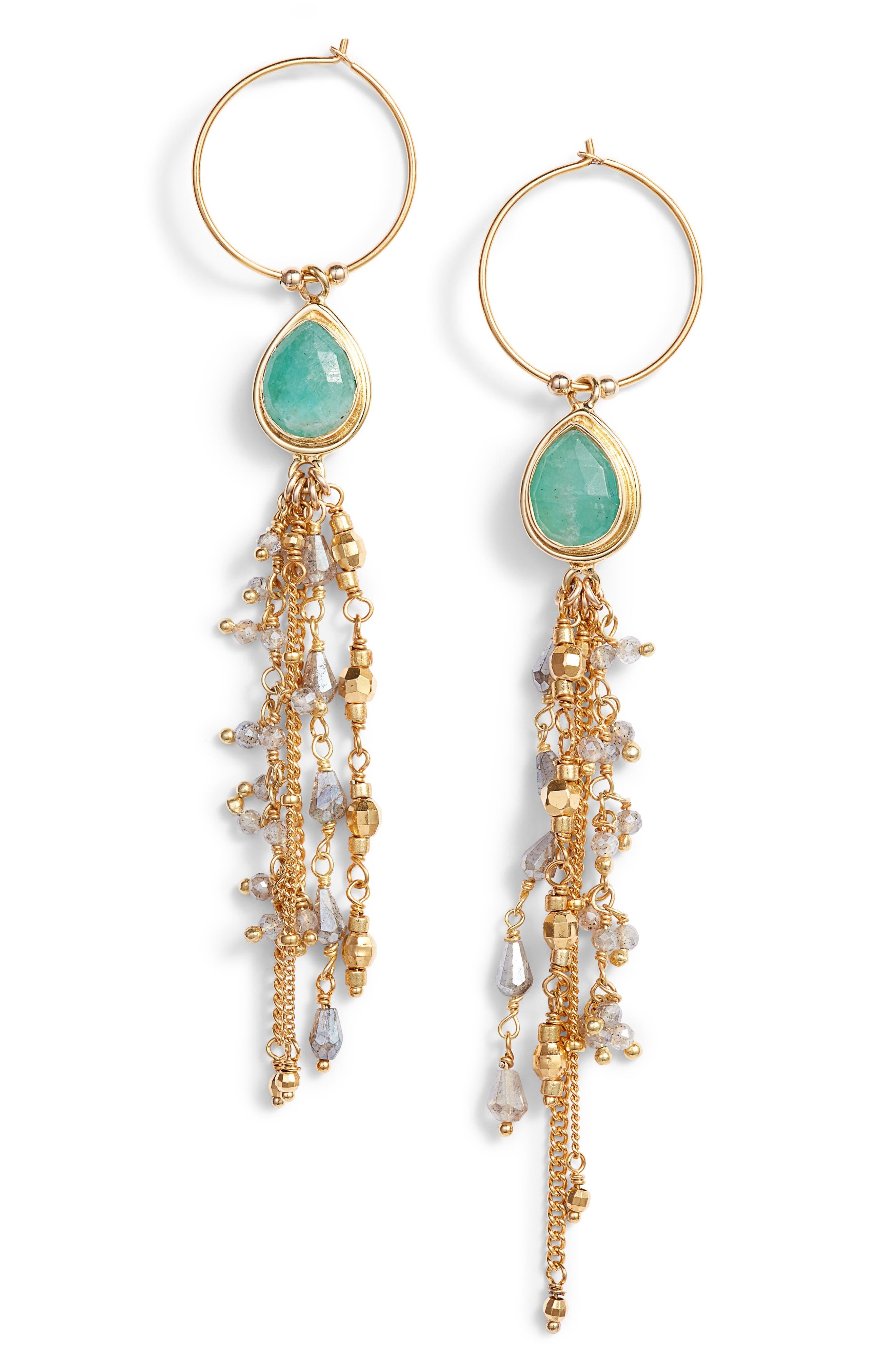 Moonstone Chain Earrings,                             Main thumbnail 1, color,                             AMAZONITE