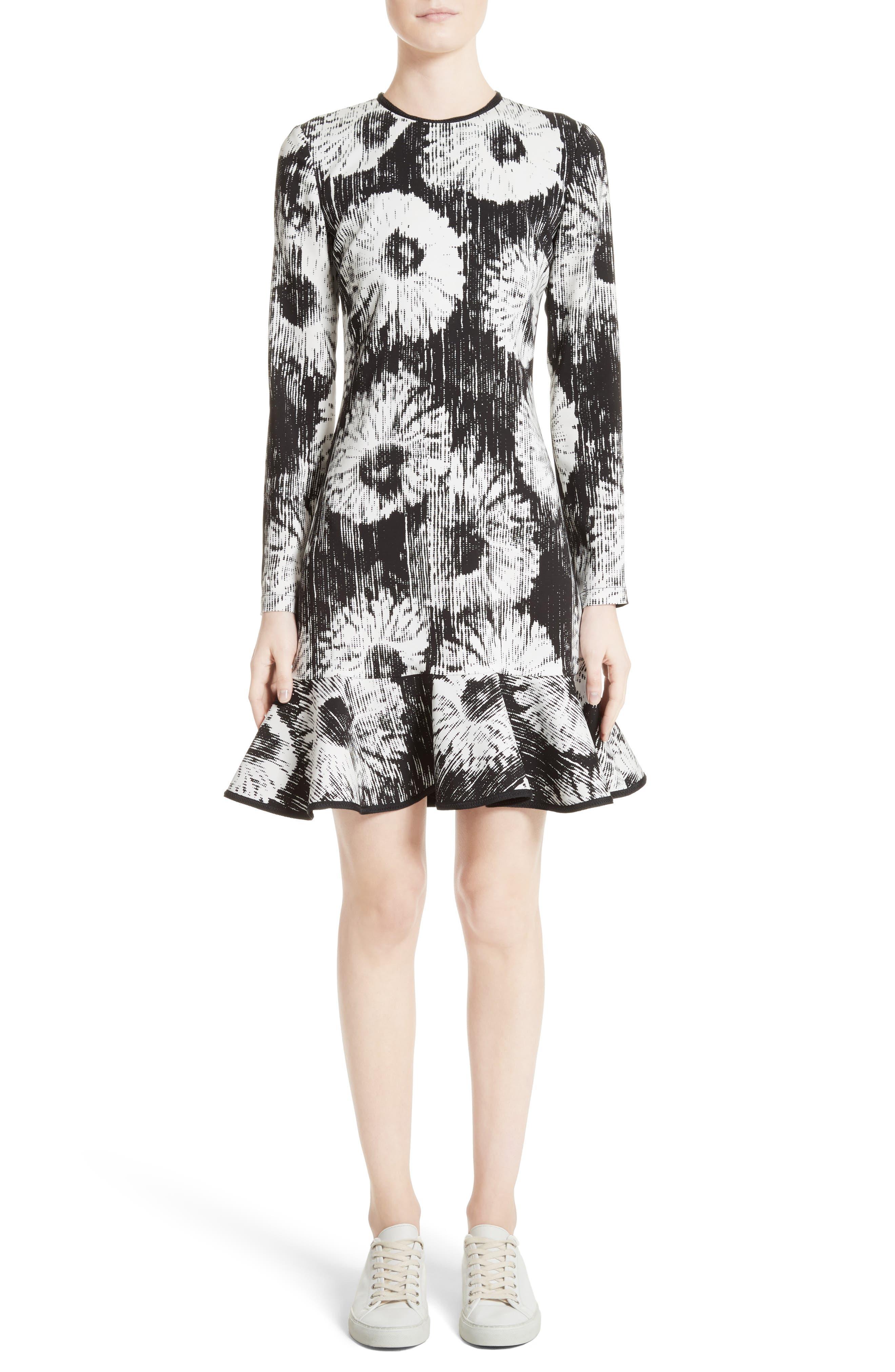 Floral Flounce Hem Dress,                         Main,                         color, 100