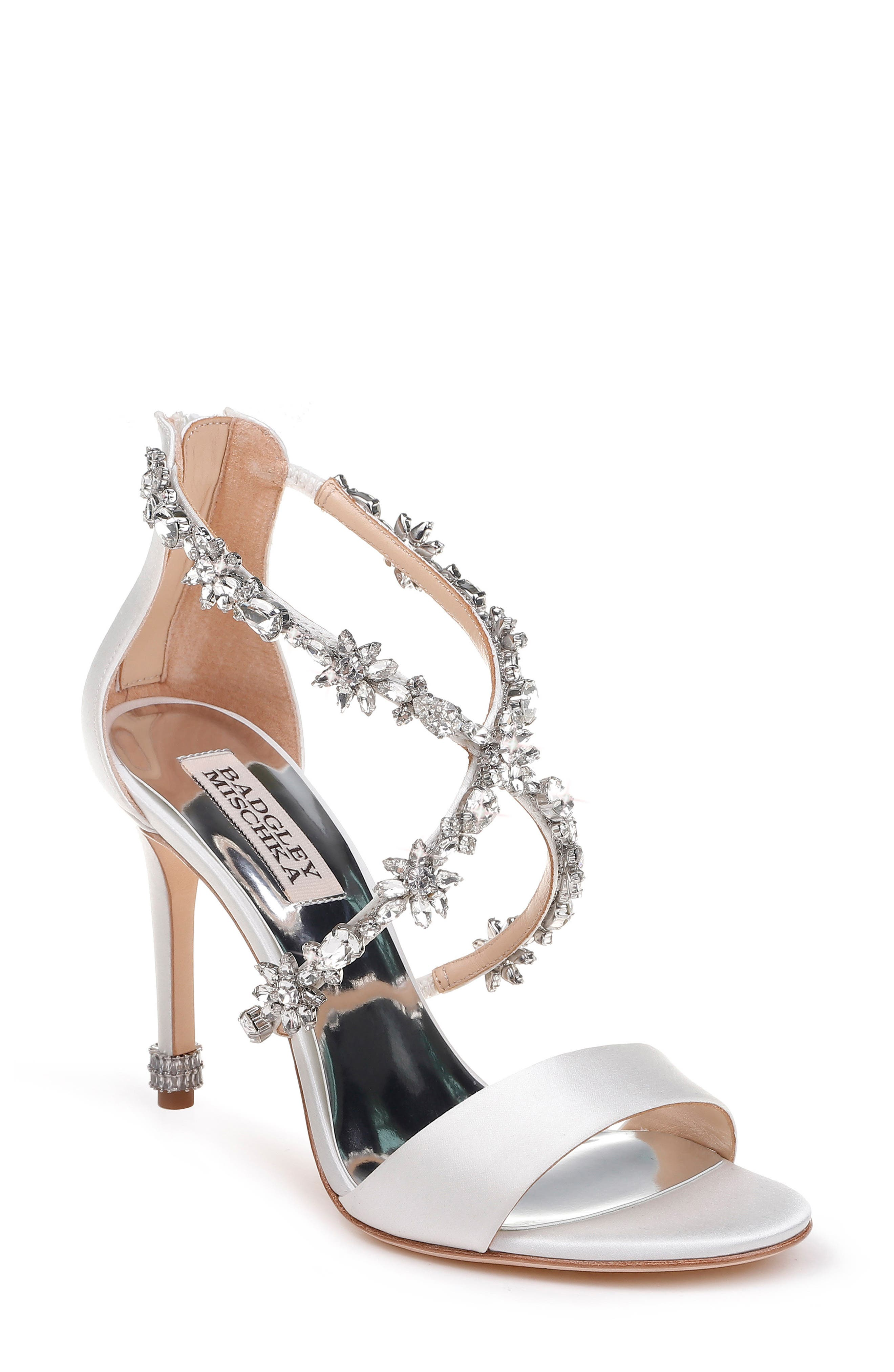 Crystal Embellished Sandal,                             Main thumbnail 1, color,                             SOFT WHITE SATIN