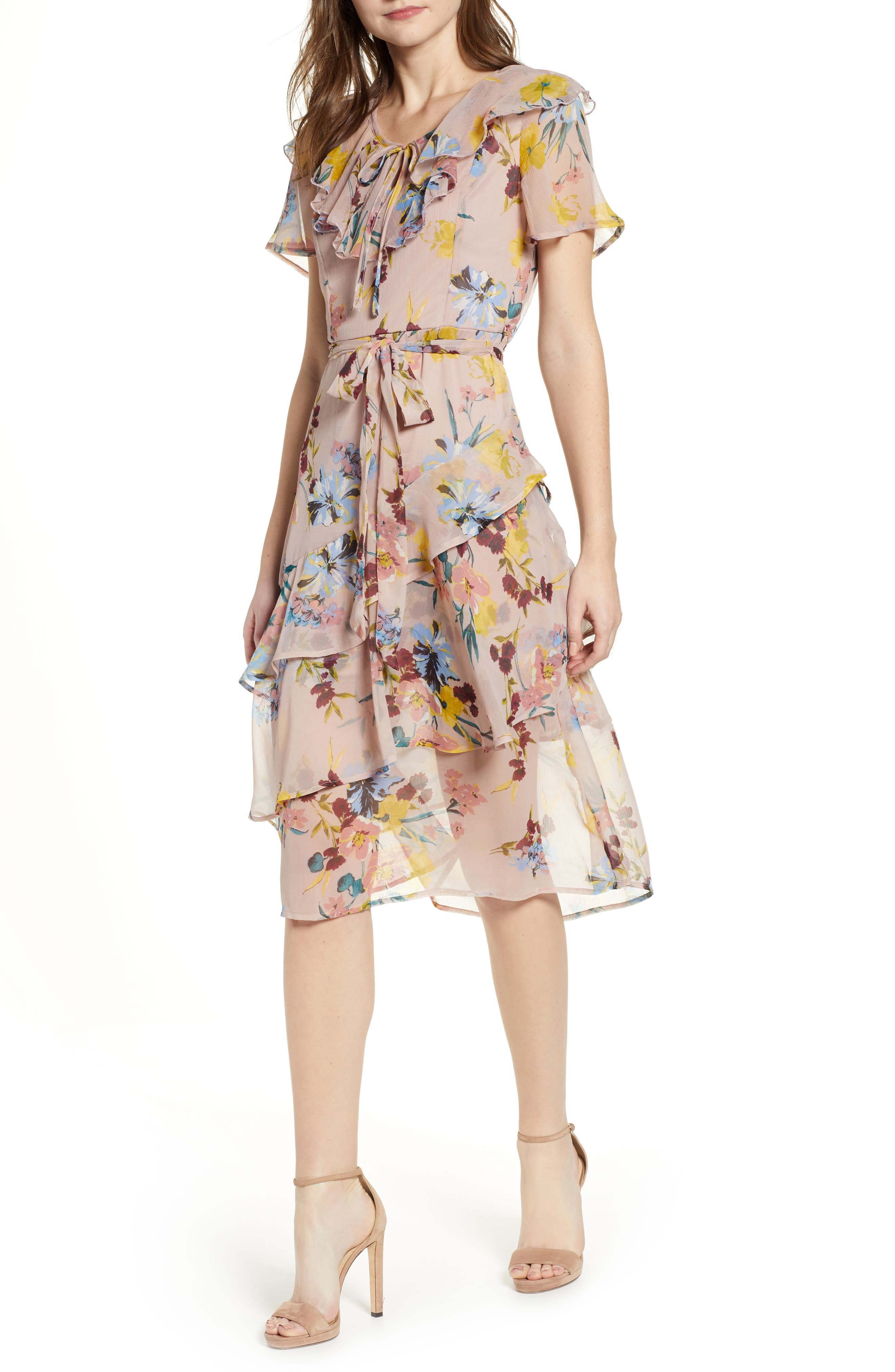 BAND OF GYPSIES Sunny Floral Print Dress in Blush/ Blue