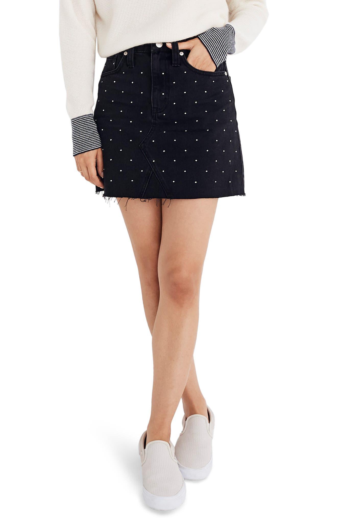 Metallic Dots Denim Miniskirt,                             Main thumbnail 1, color,                             LUNAR WASH
