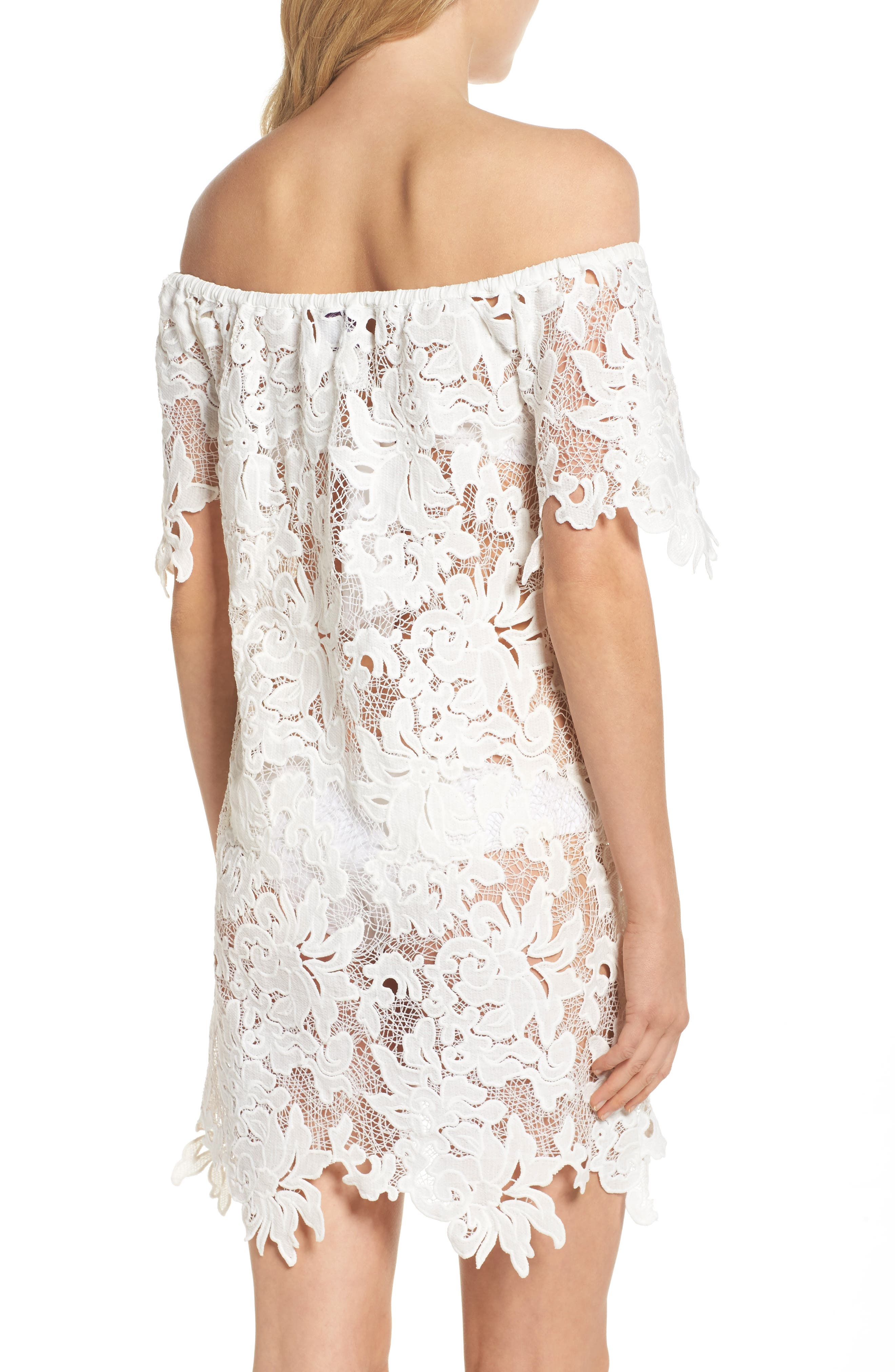 Ode Rosette Lace Cover-Up Dress,                             Alternate thumbnail 2, color,                             100