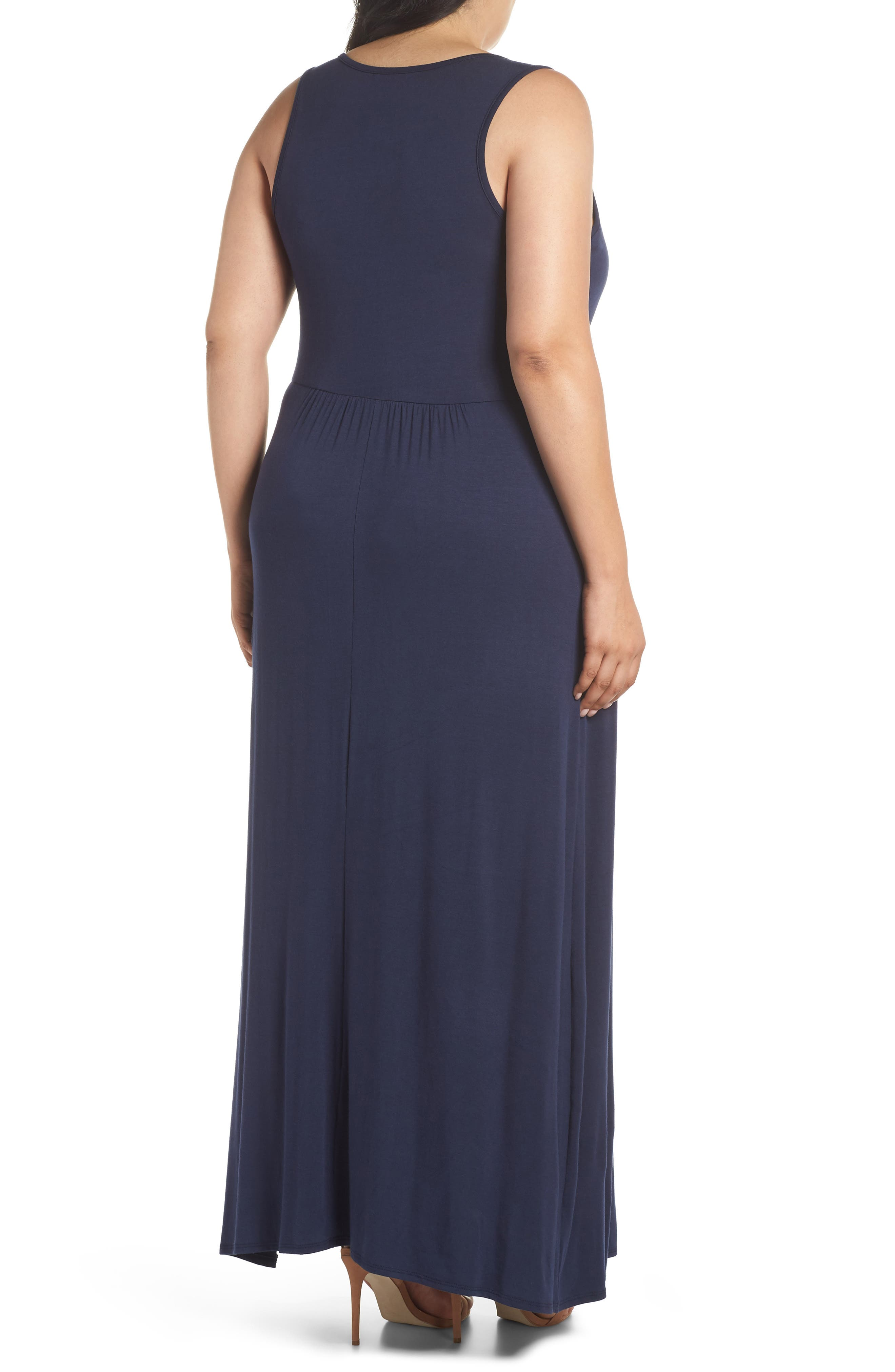 Surplice Maxi Dress,                             Alternate thumbnail 2, color,                             MIDNIGHT