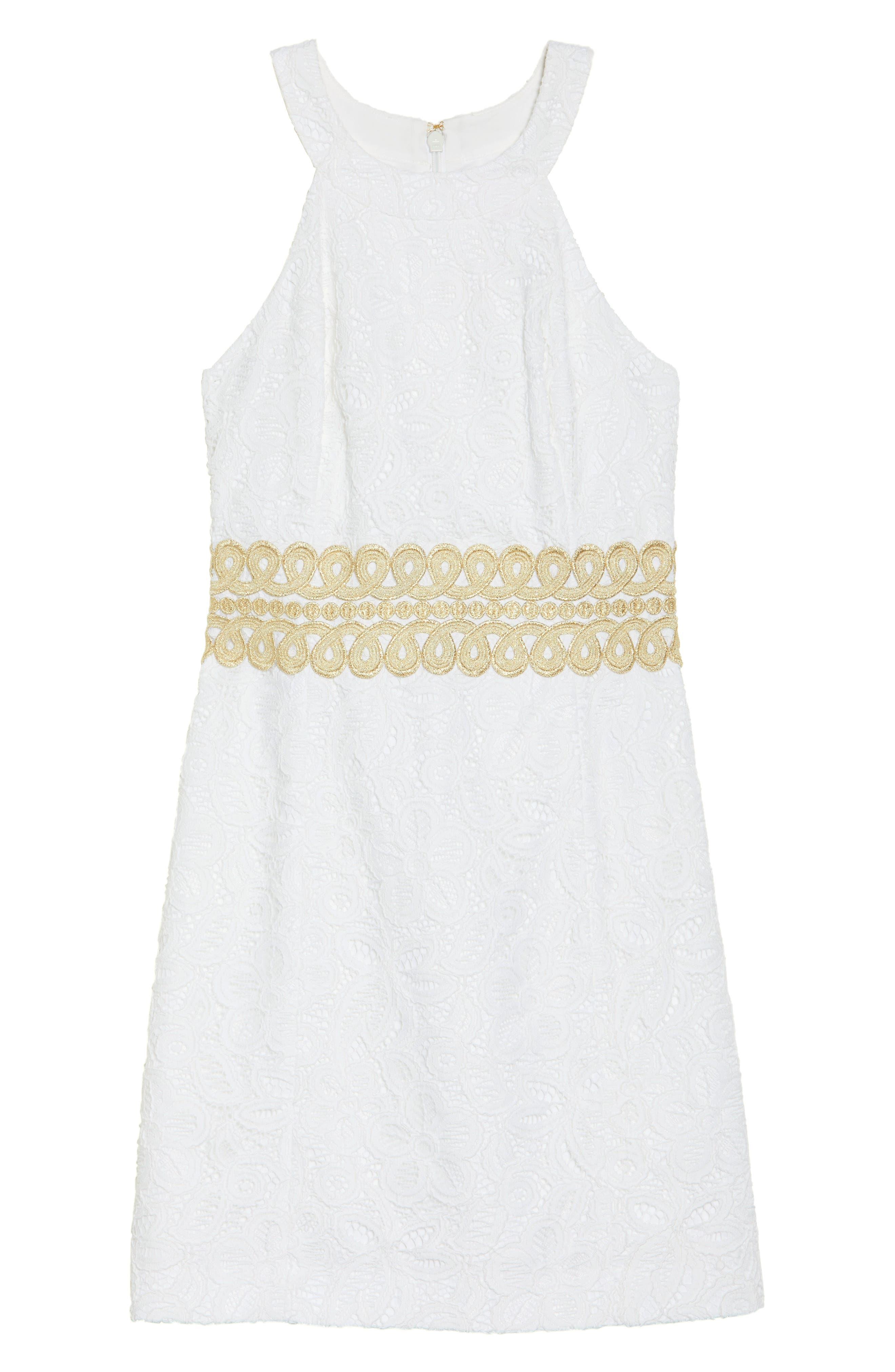 Ashlyn Lace Dress,                             Alternate thumbnail 7, color,                             RESORT WHITE POP FLORAL LACE