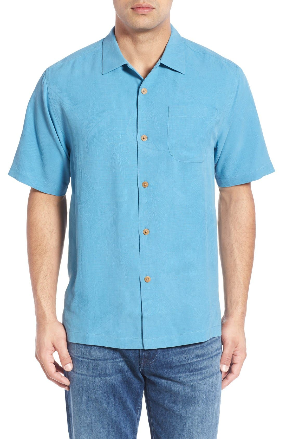 Rio Fronds Short Sleeve Silk Sport Shirt,                             Main thumbnail 11, color,