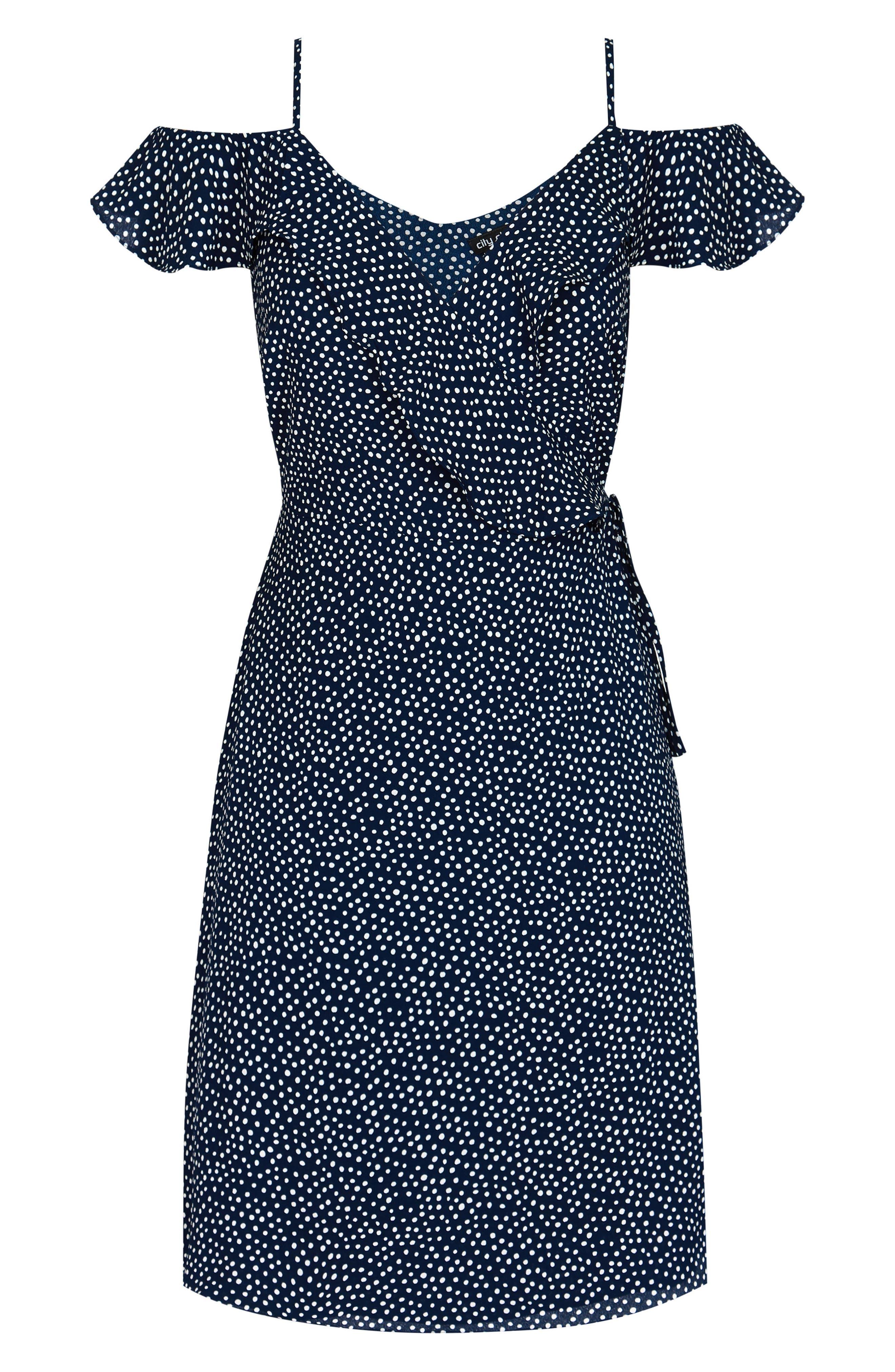 Spot Cold Shoulder Wrap Dress,                             Alternate thumbnail 3, color,                             NAVY SPOT