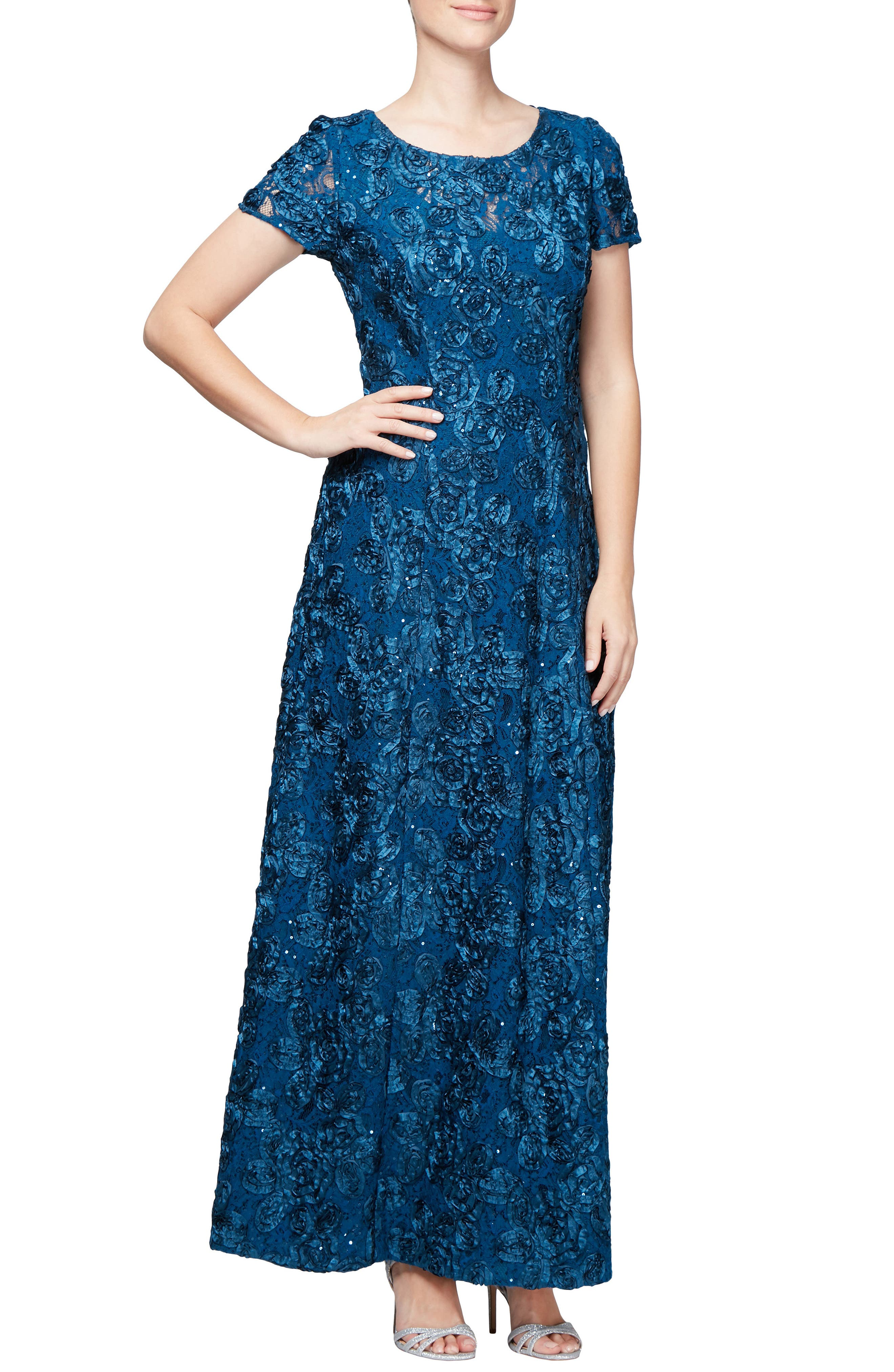 Embellished Lace Gown,                         Main,                         color, PEACOCK