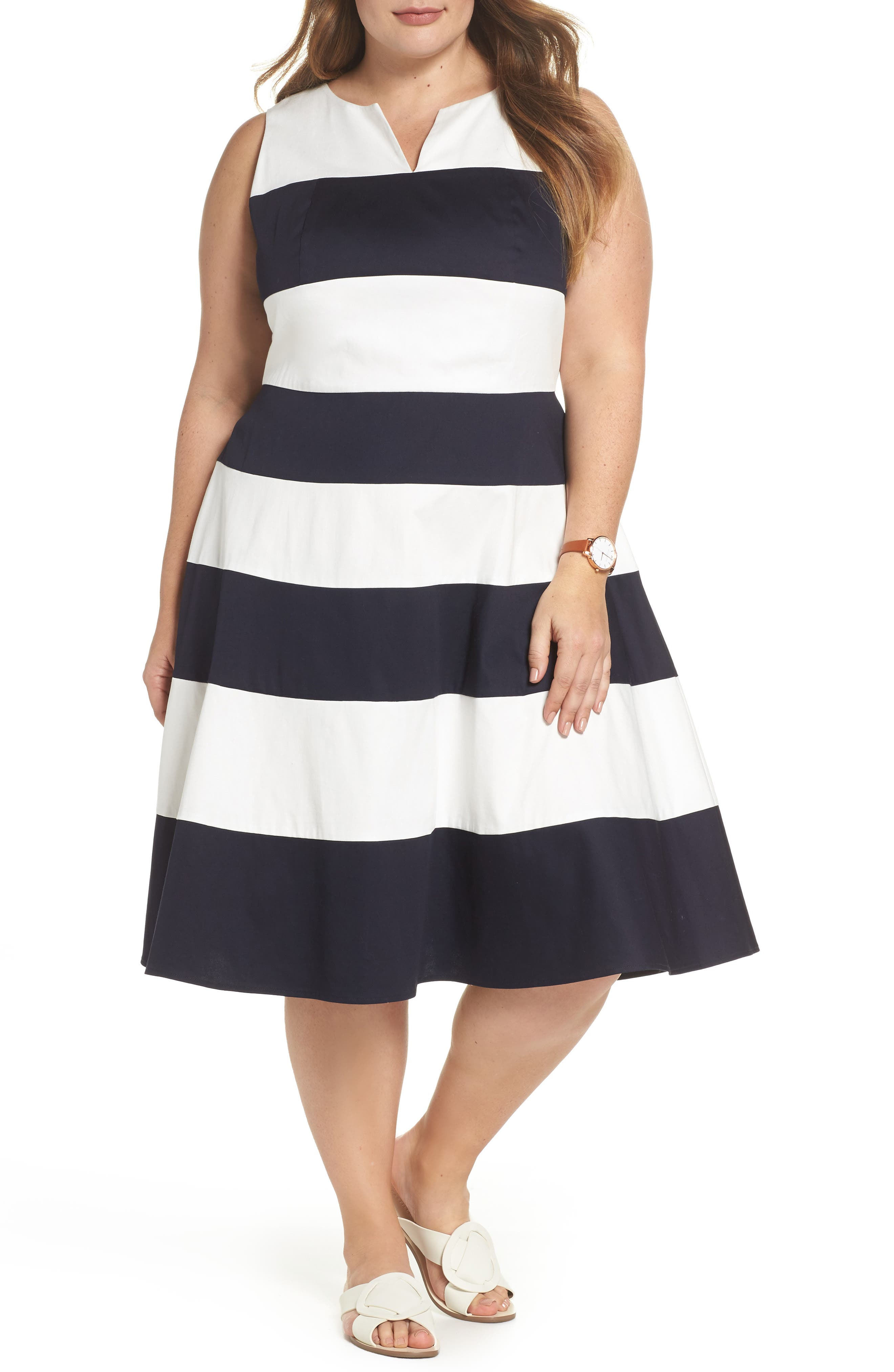 Stripe Fit & Flare Dress,                         Main,                         color, NAVY- WHITE STRIPE