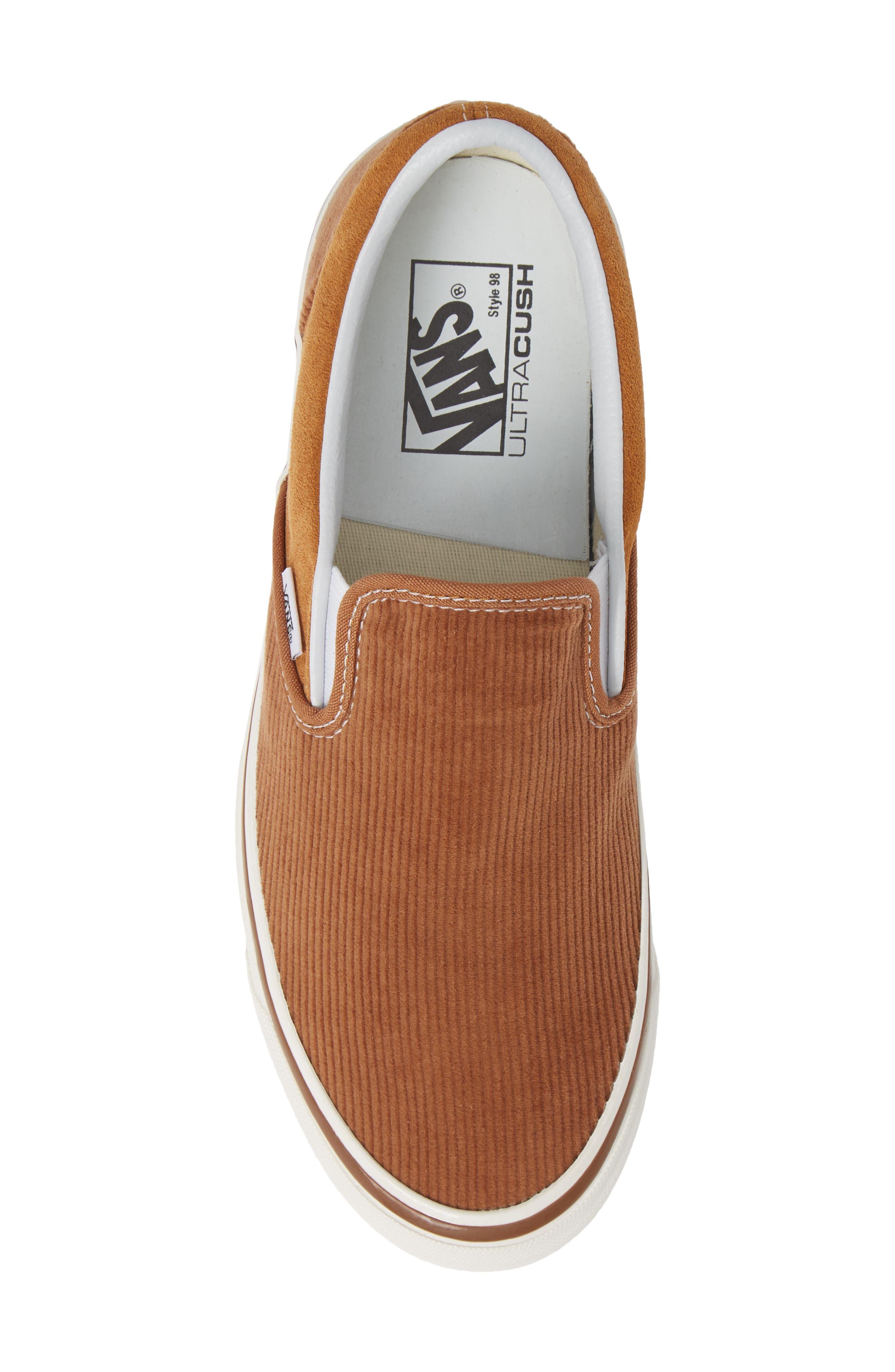 Classic 98 DX Slip-On Sneaker,                             Alternate thumbnail 5, color,                             BROWN/ CORDUROY