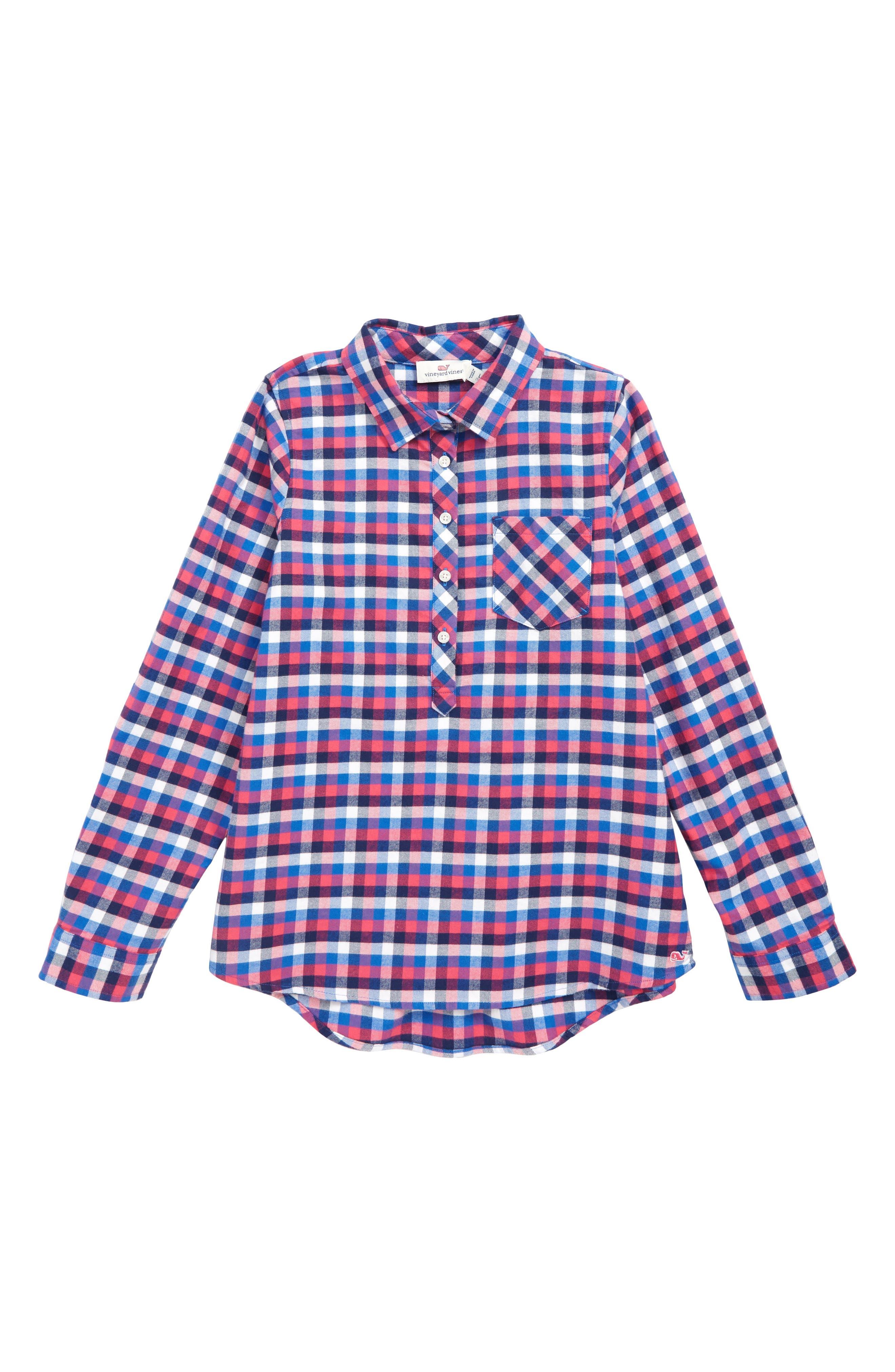 Charleston Plaid Popover Shirt, Main, color, YACHT BLUE