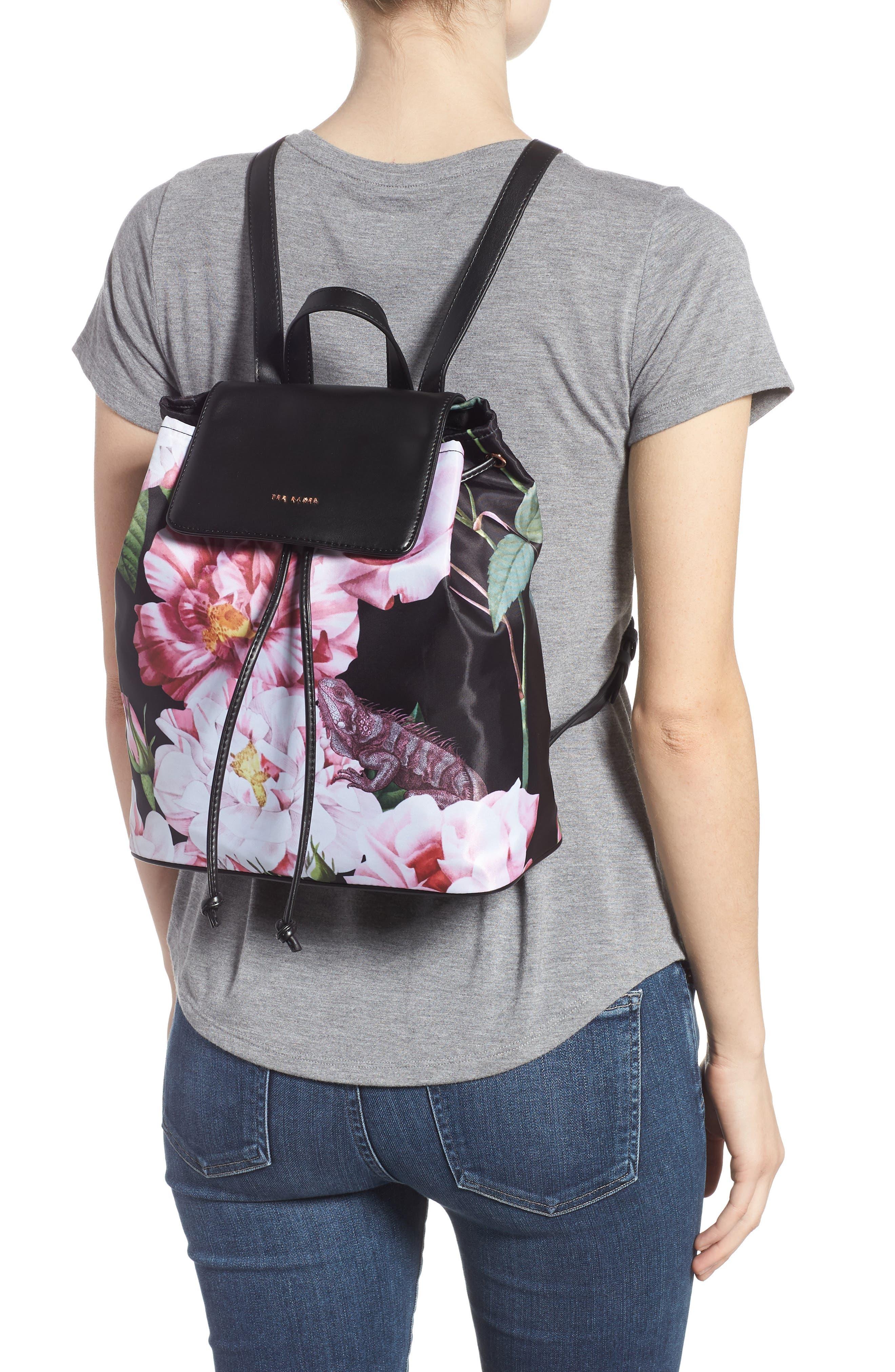Jullie Iguazu Print Nylon Backpack,                             Alternate thumbnail 2, color,                             BLACK