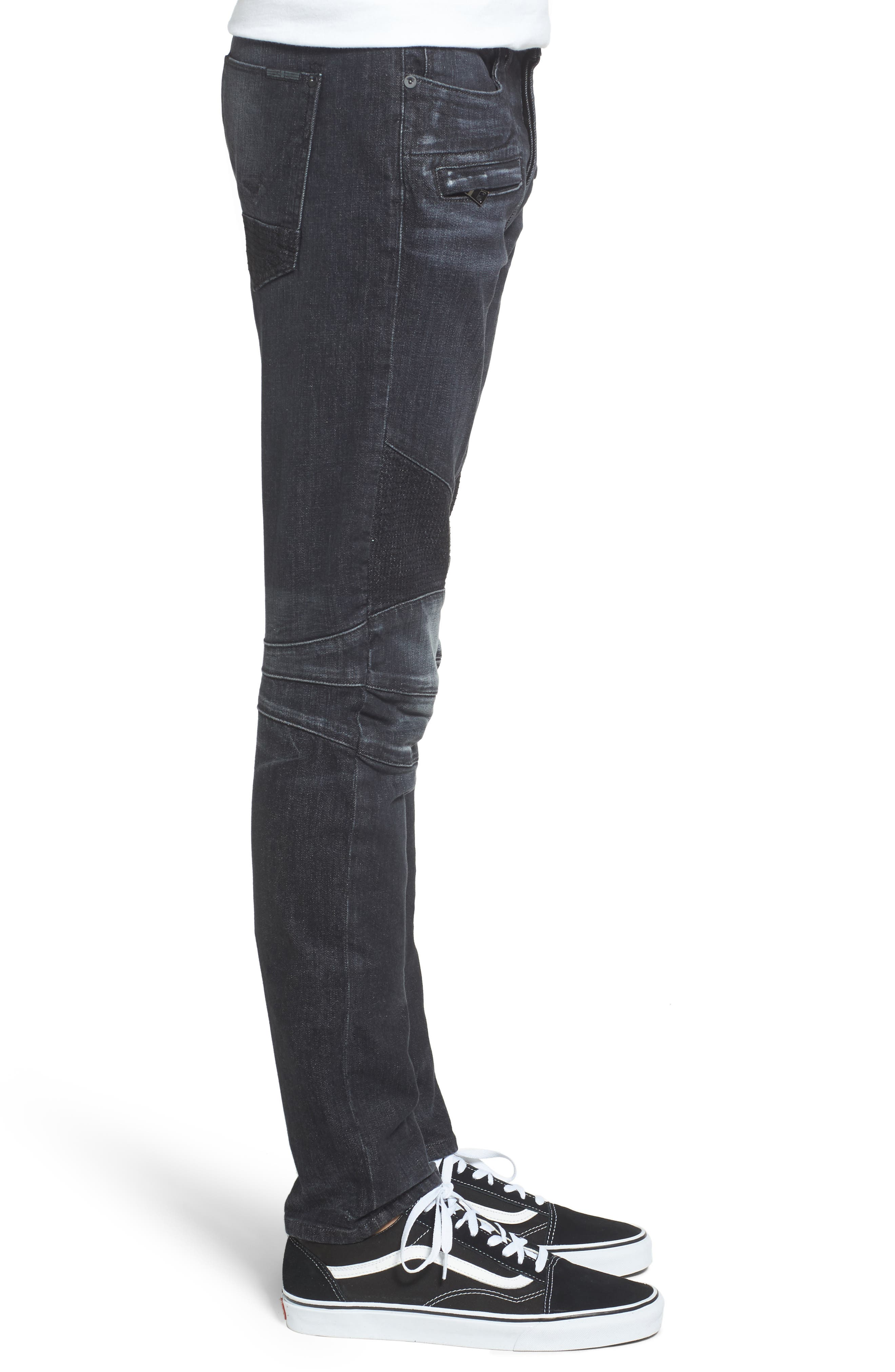 Blinder Skinny Fit Moto Jeans,                             Alternate thumbnail 3, color,                             001