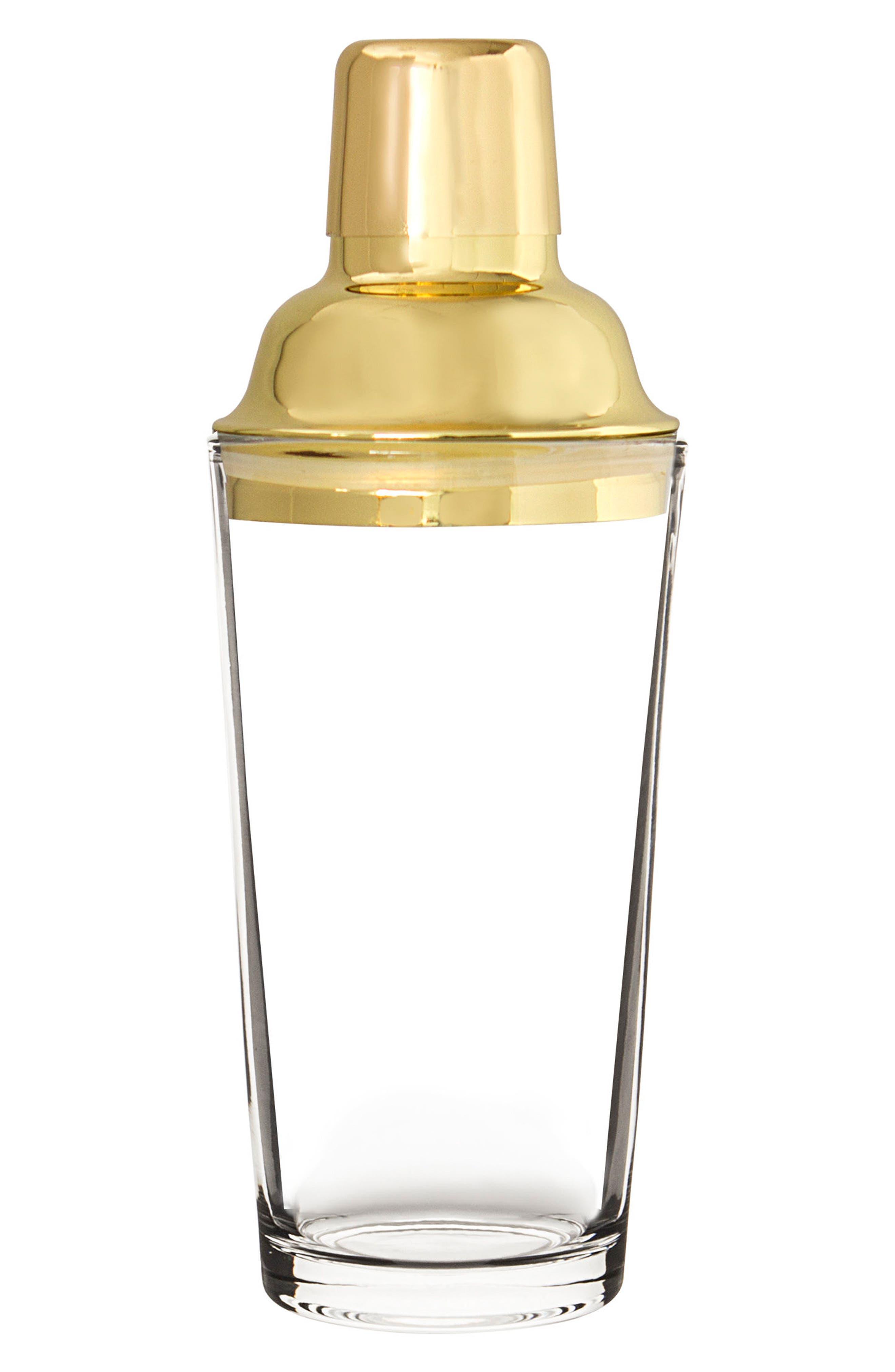 CATHY'S CONCEPTS,                             Monogram Goldtone Cocktail Shaker,                             Main thumbnail 1, color,                             247