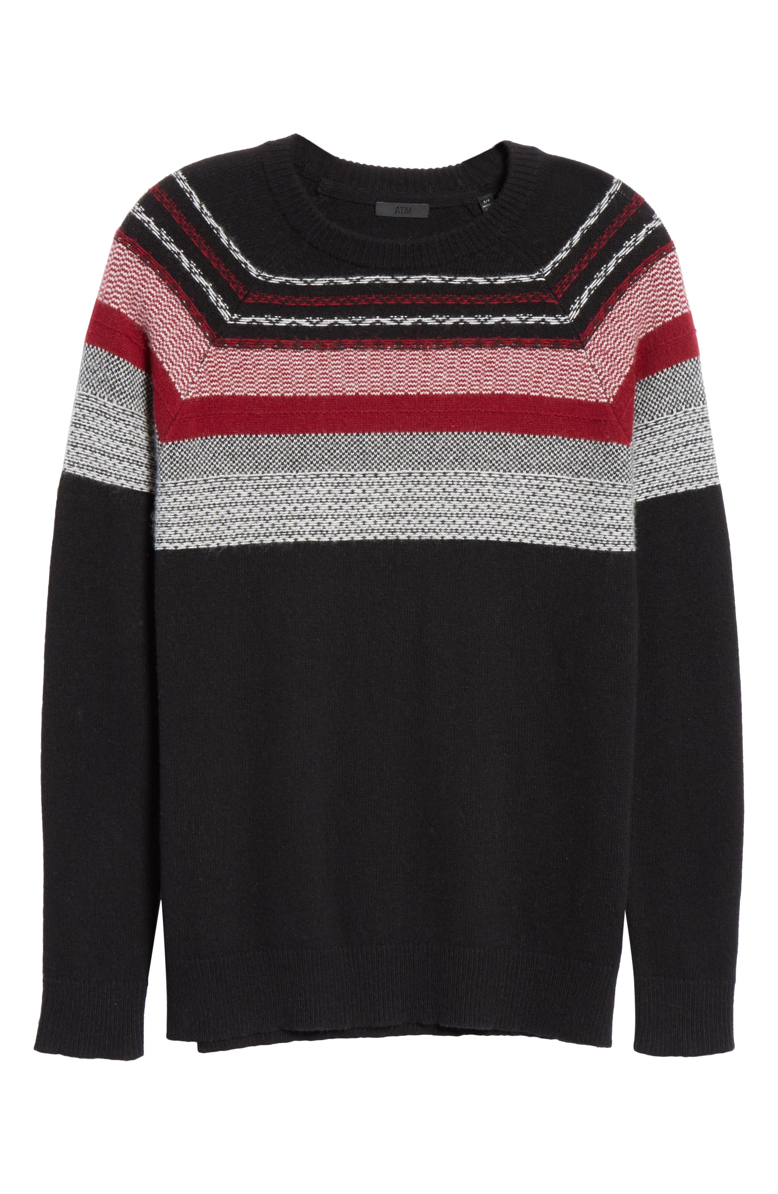 Fair Isle Merino Wool Blend Sweater,                             Alternate thumbnail 6, color,                             BLACK/ RED COMBO
