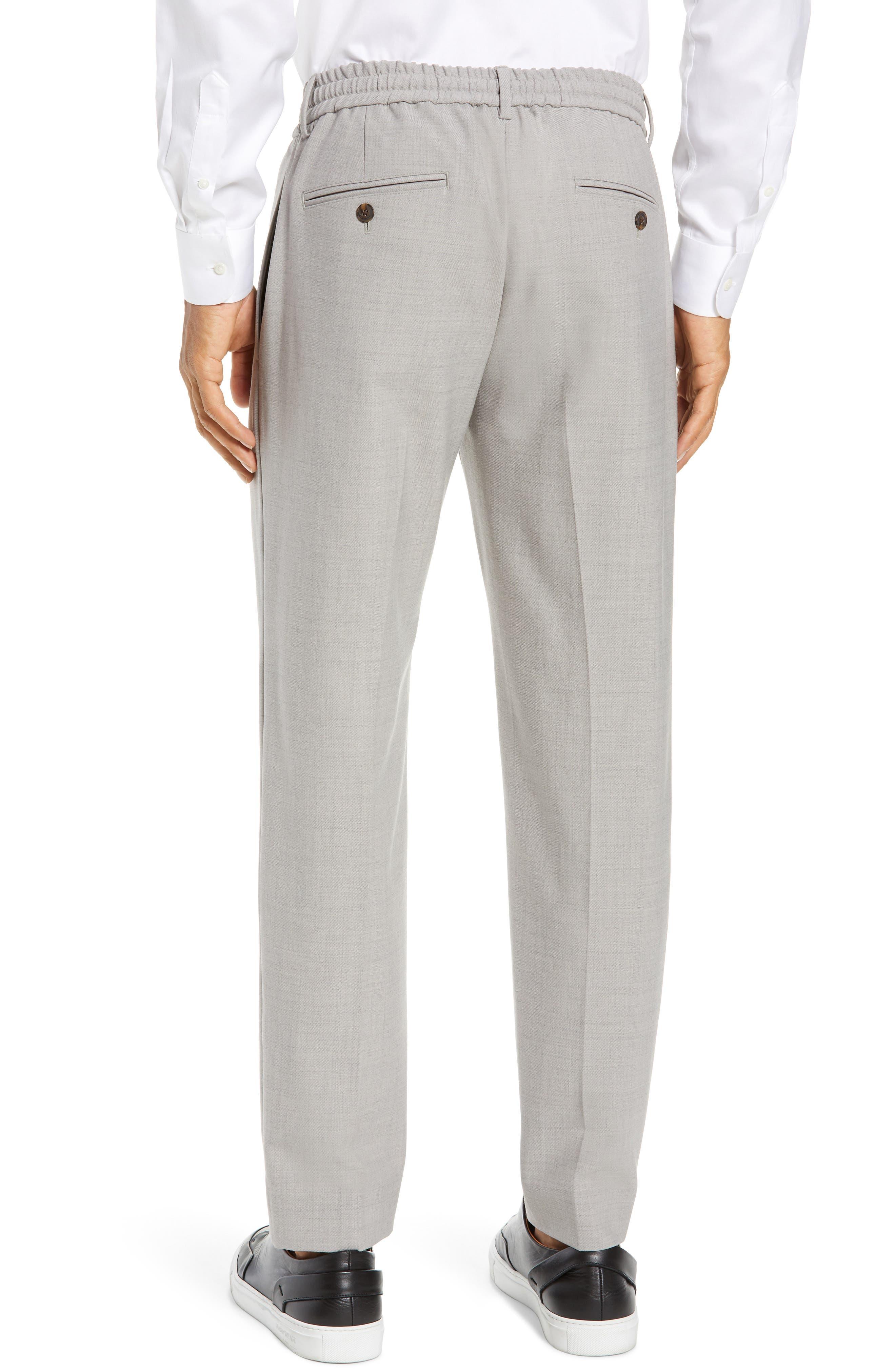 CLUB MONACO,                             Trim Fit Pintuck Pants,                             Alternate thumbnail 2, color,                             HEATHER GREY