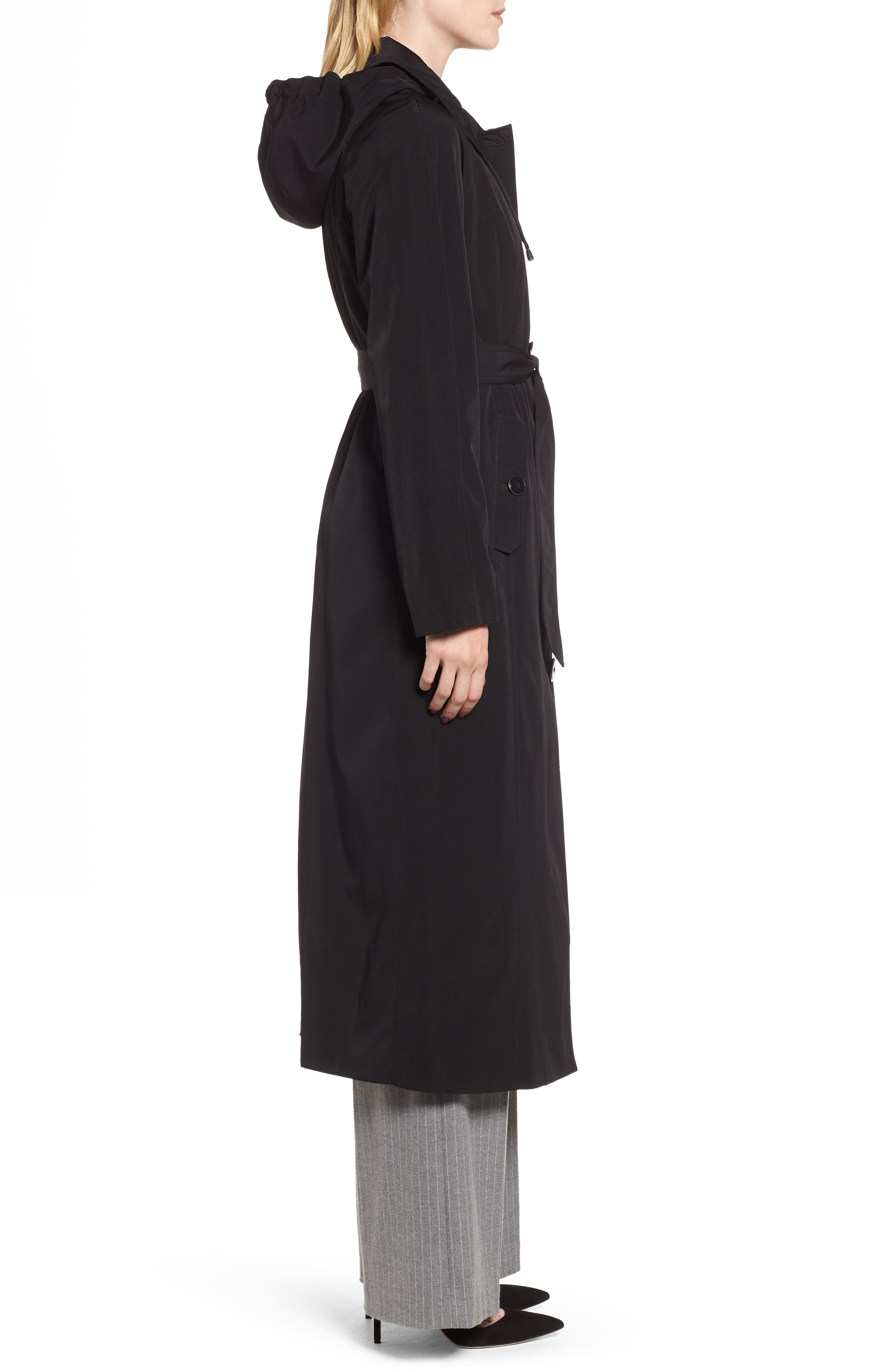 Long Trench Coat with Detachable Hood & Liner,                             Alternate thumbnail 3, color,                             BLACK