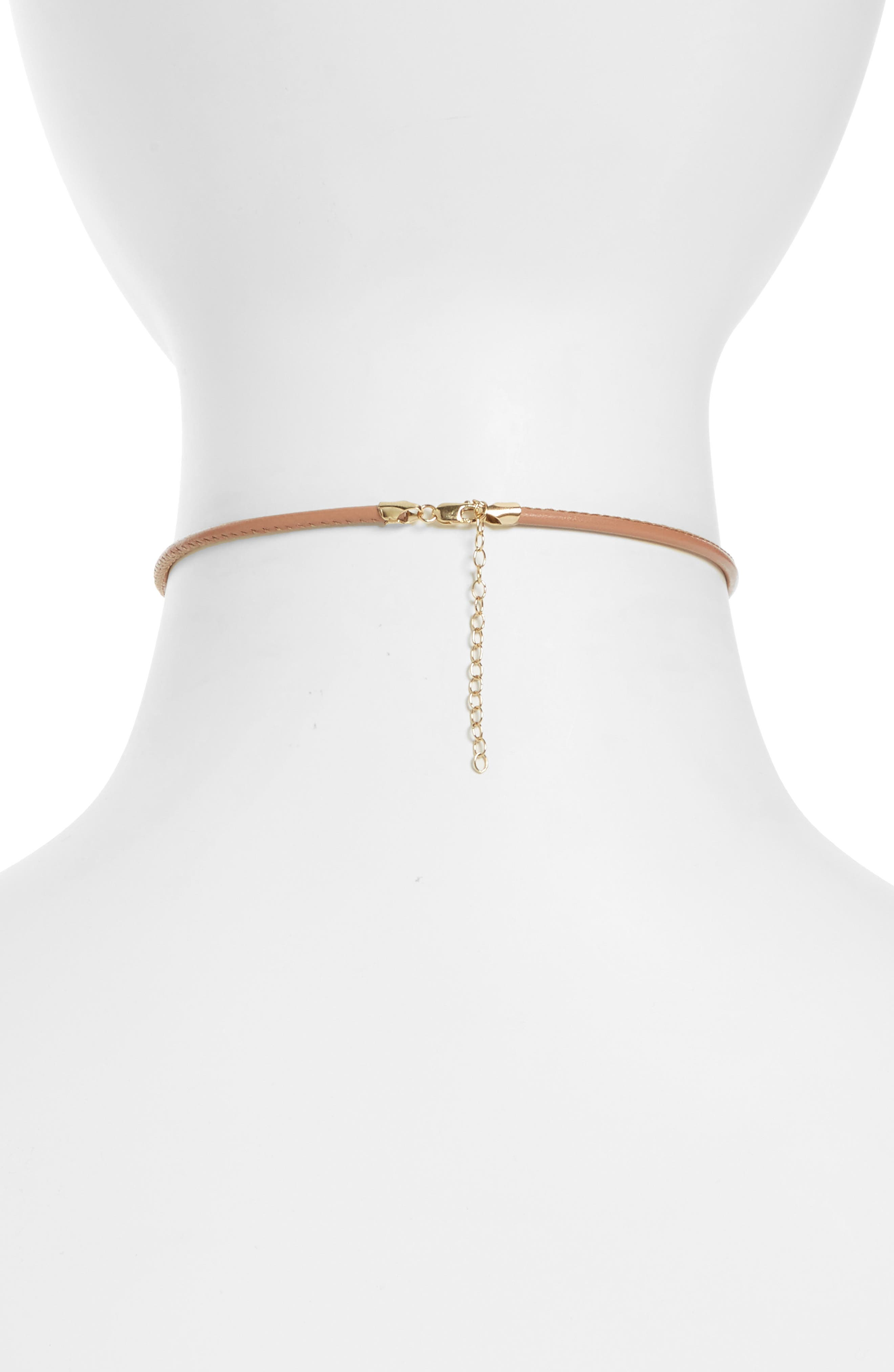 Leather & Pearl Choker,                             Alternate thumbnail 3, color,                             NEUTRAL LEATHER/ WHITE PEARL