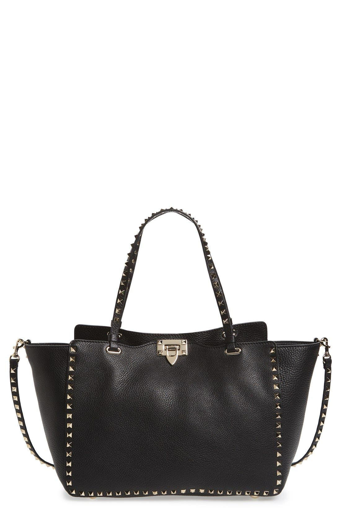 'Rockstud' Grained Calfskin Leather Tote, Main, color, NERO