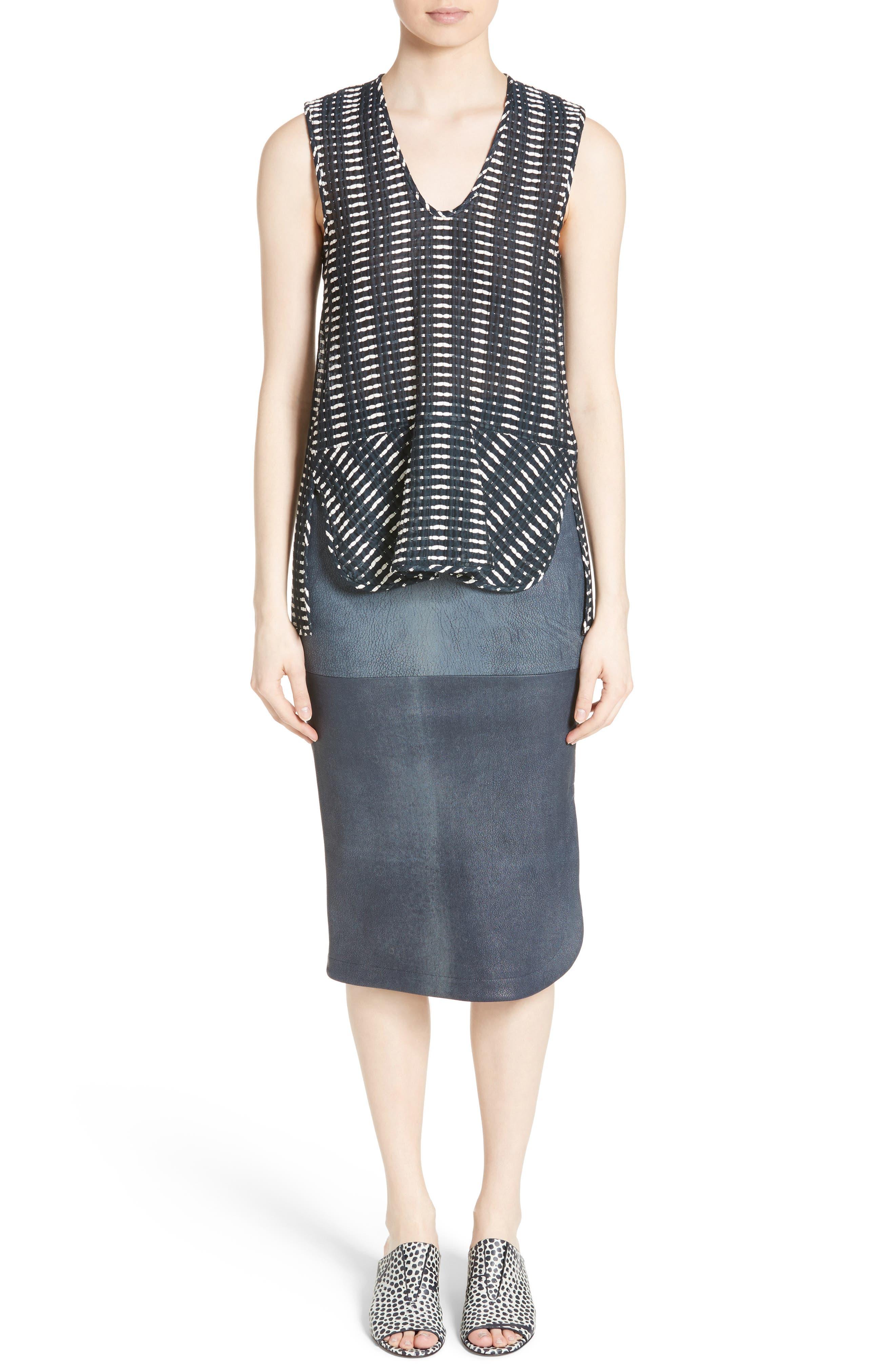 Rai Leather Curved Skirt,                             Alternate thumbnail 6, color,                             400