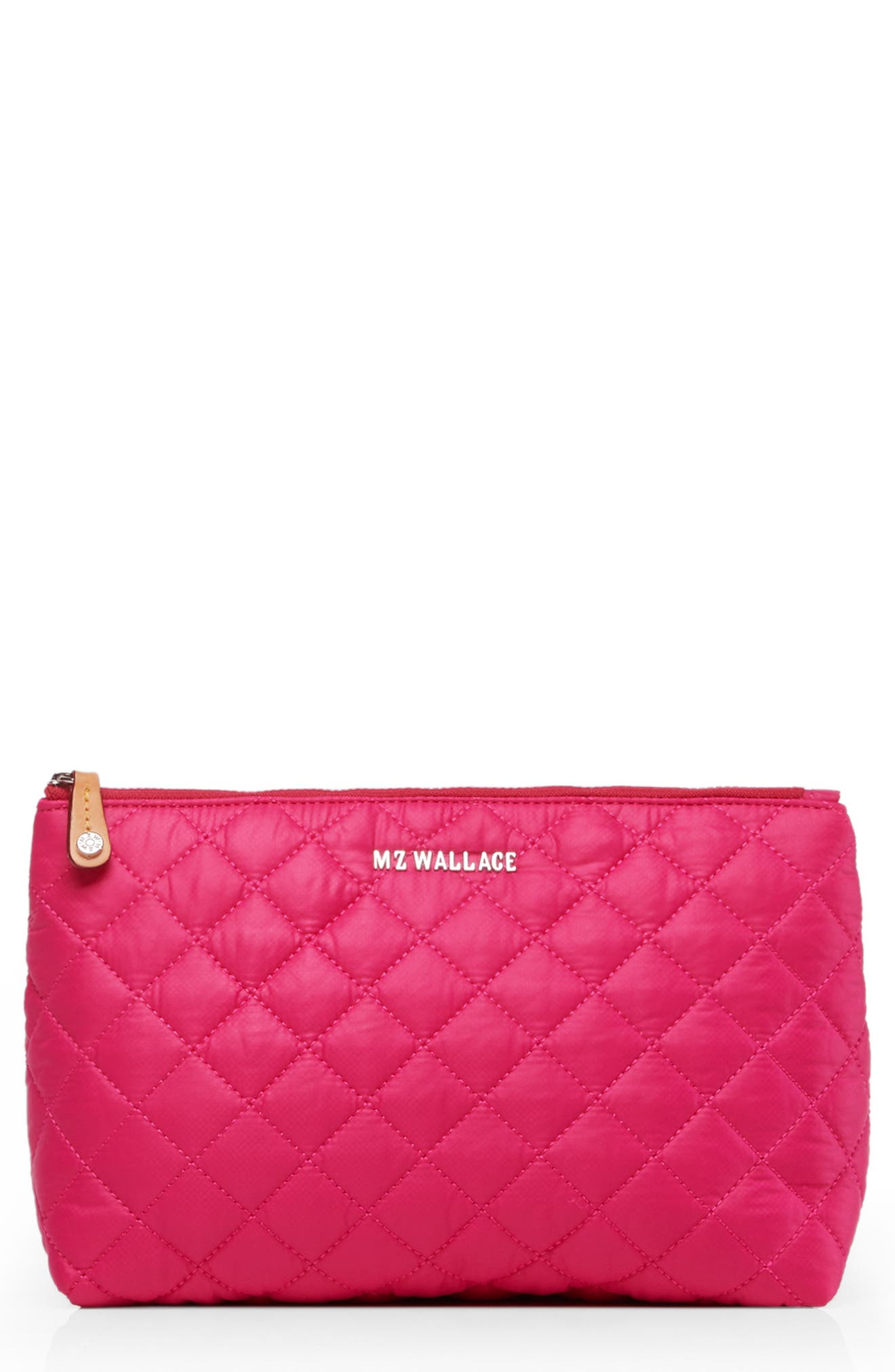 Zoey Quilted Nylon Cosmetics Case in Dragon Fruit