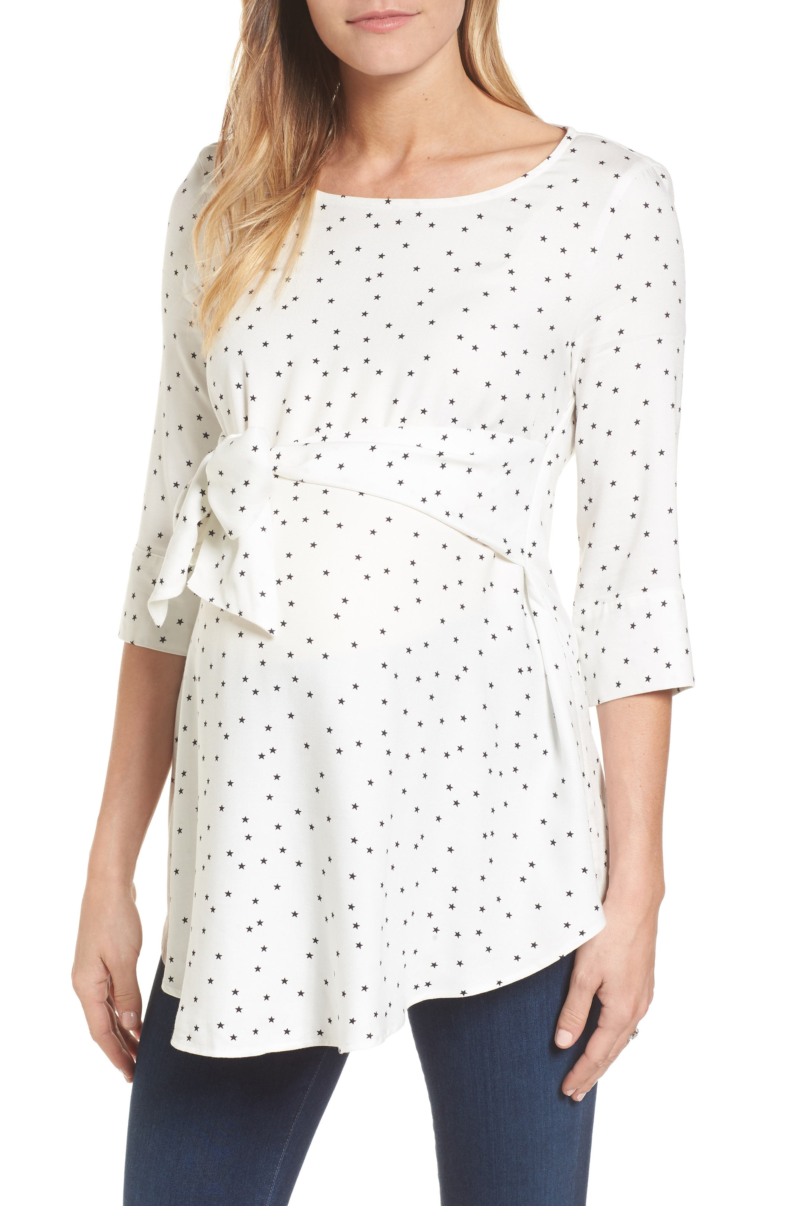 ISABELLA OLIVER,                             Selina Tie Front Maternity Top,                             Main thumbnail 1, color,                             OFF WHITE STAR PRINT
