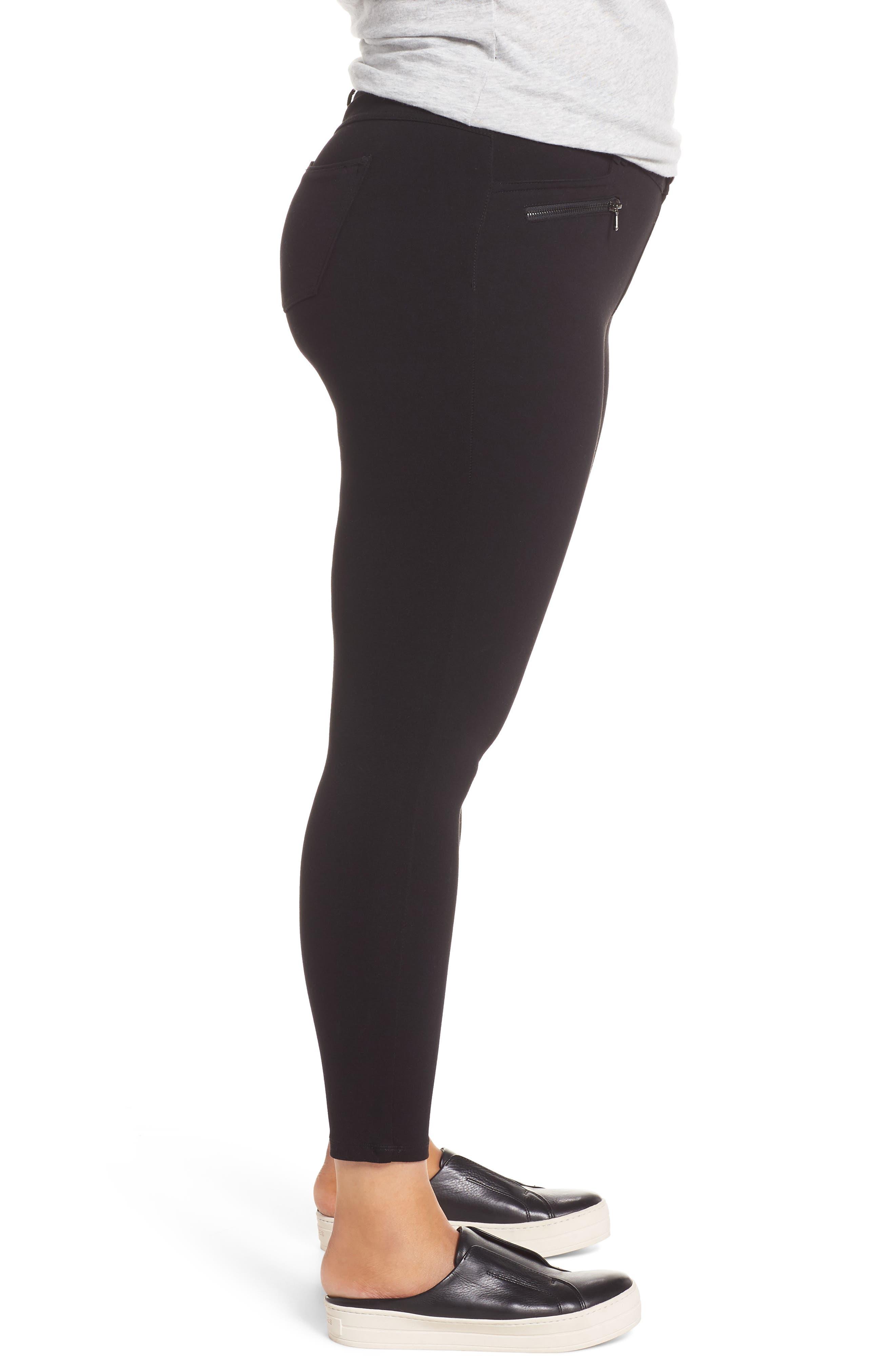 Ab-solution Zip Pocket Skinny Pants,                             Alternate thumbnail 3, color,                             BLACK