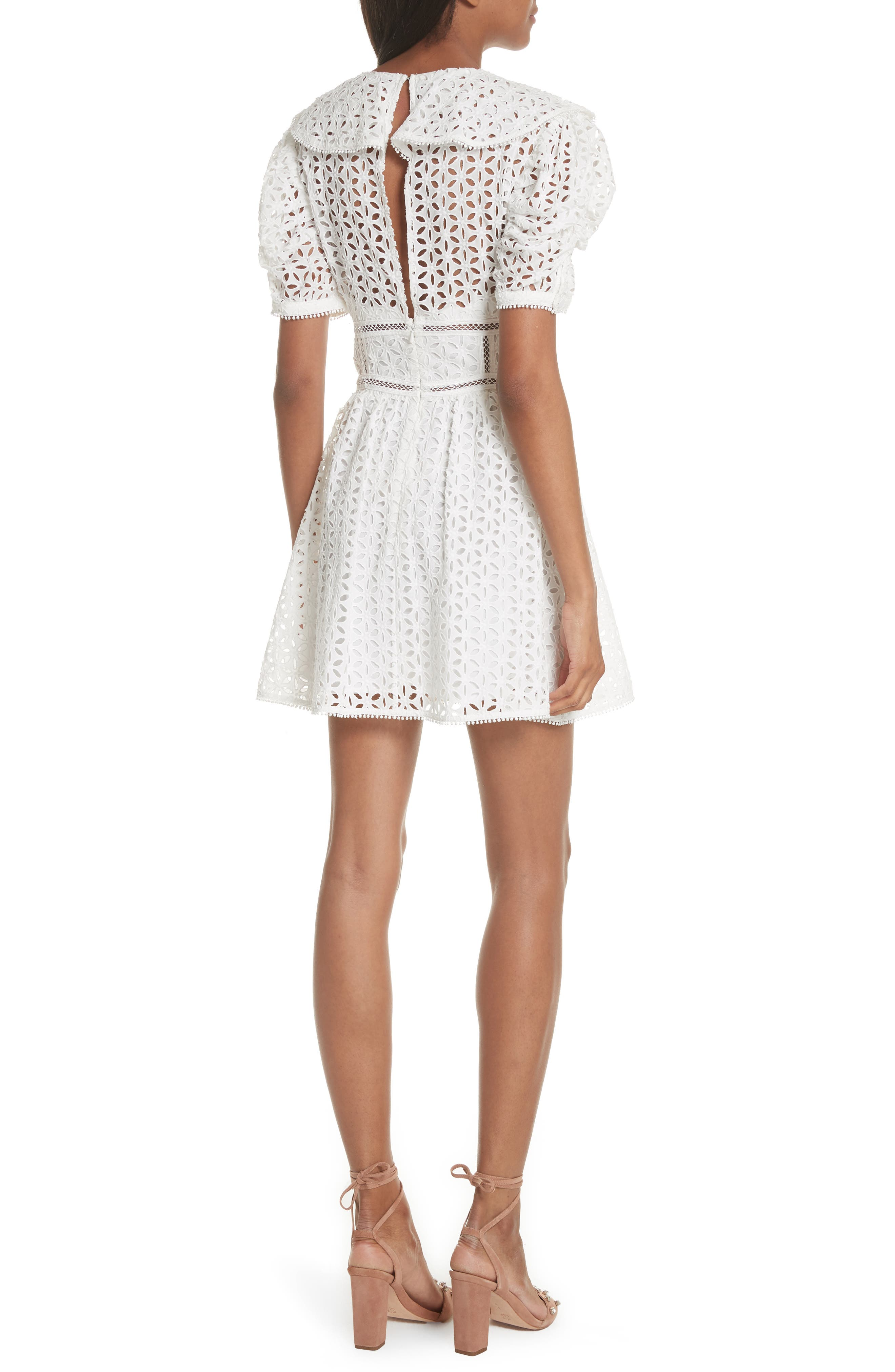 Puff Shoulder Broderie Anglaise Dress,                             Alternate thumbnail 2, color,                             100