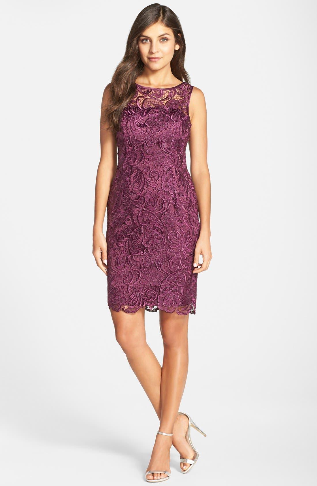 Illusion Bodice Lace Sheath Dress,                             Alternate thumbnail 30, color,