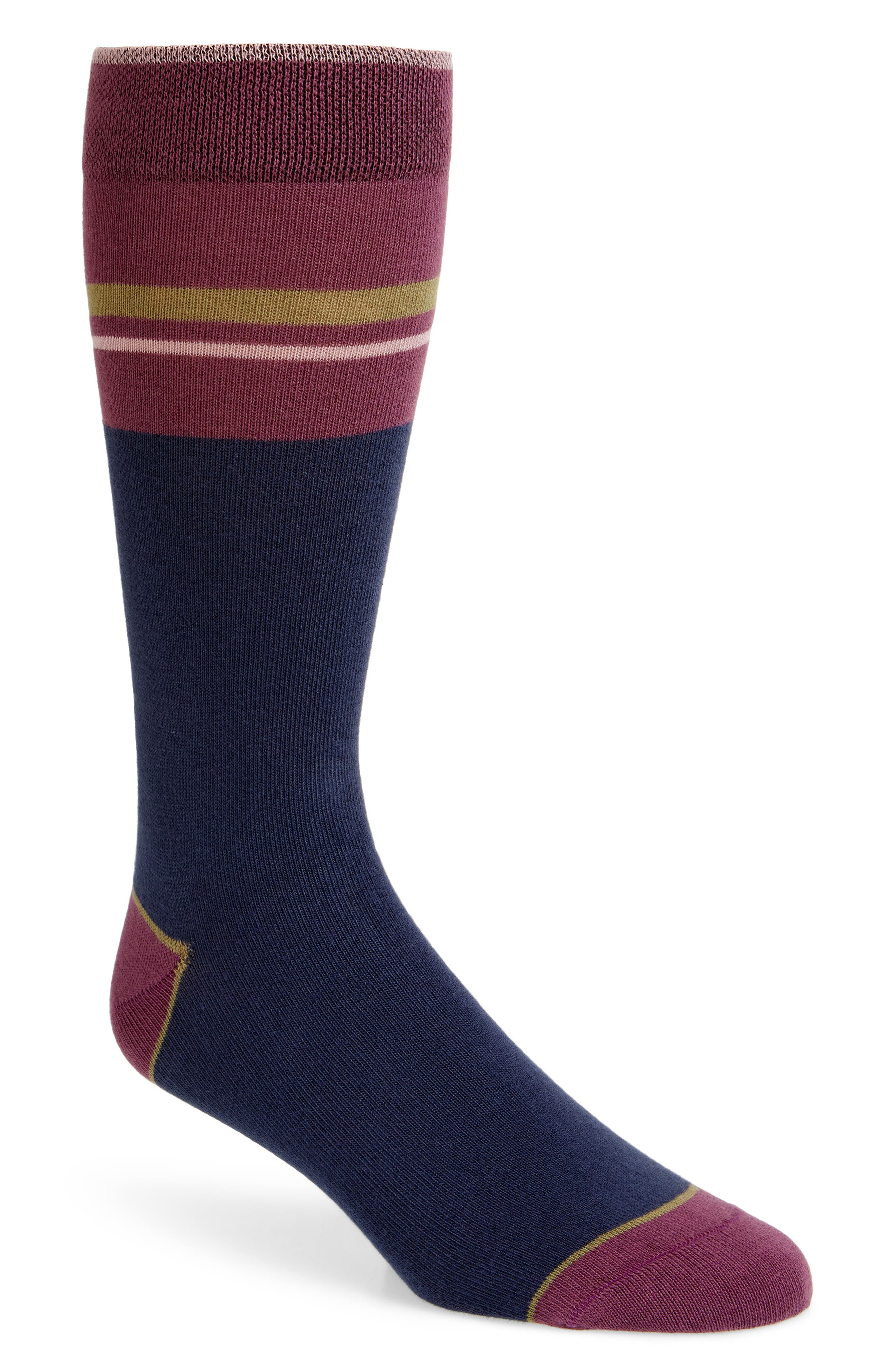 Amorpe Stripe Socks,                             Main thumbnail 1, color,                             NAVY