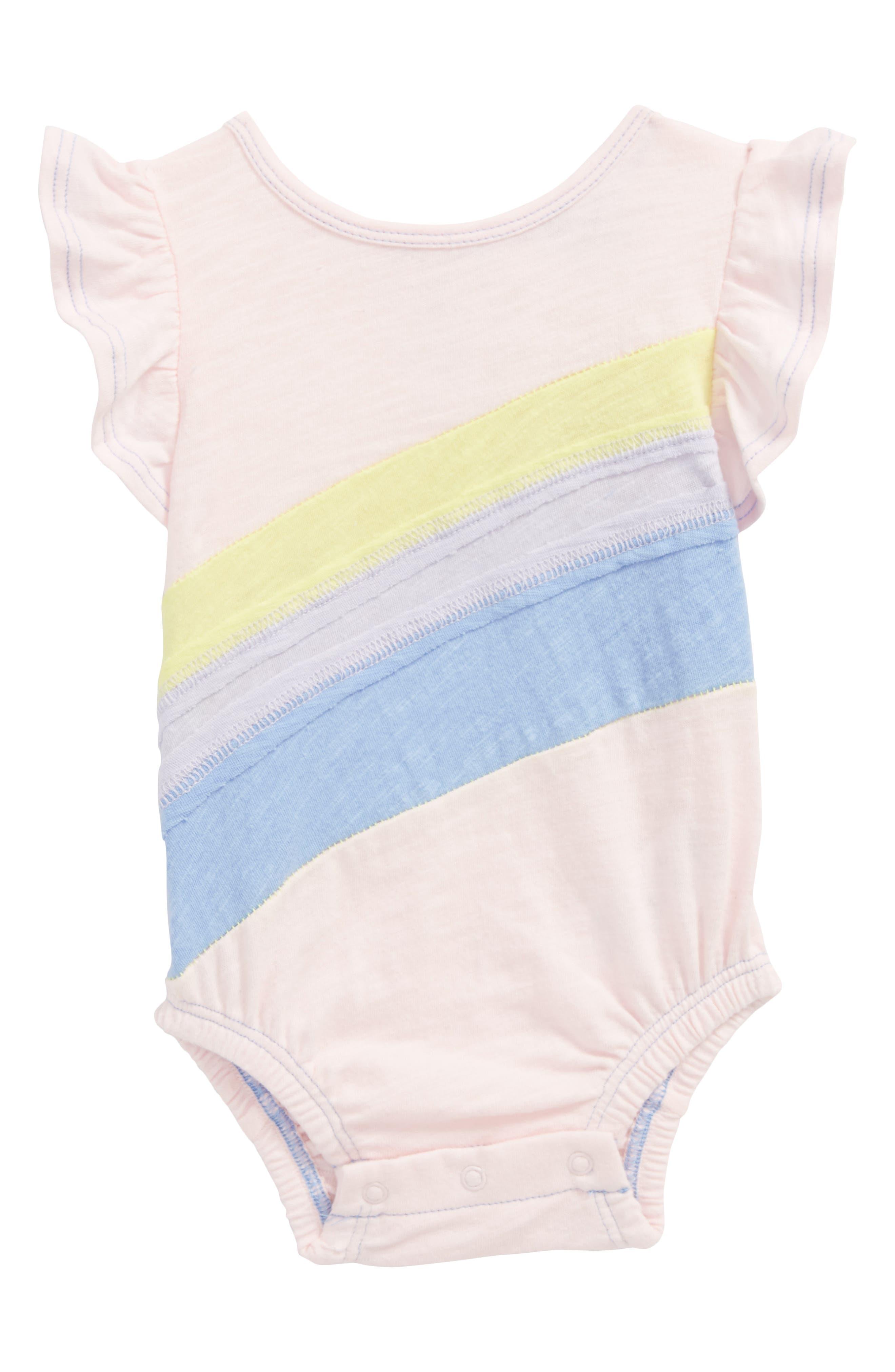 Rainbow Flutter Sleeve Bodysuit,                             Main thumbnail 1, color,                             680