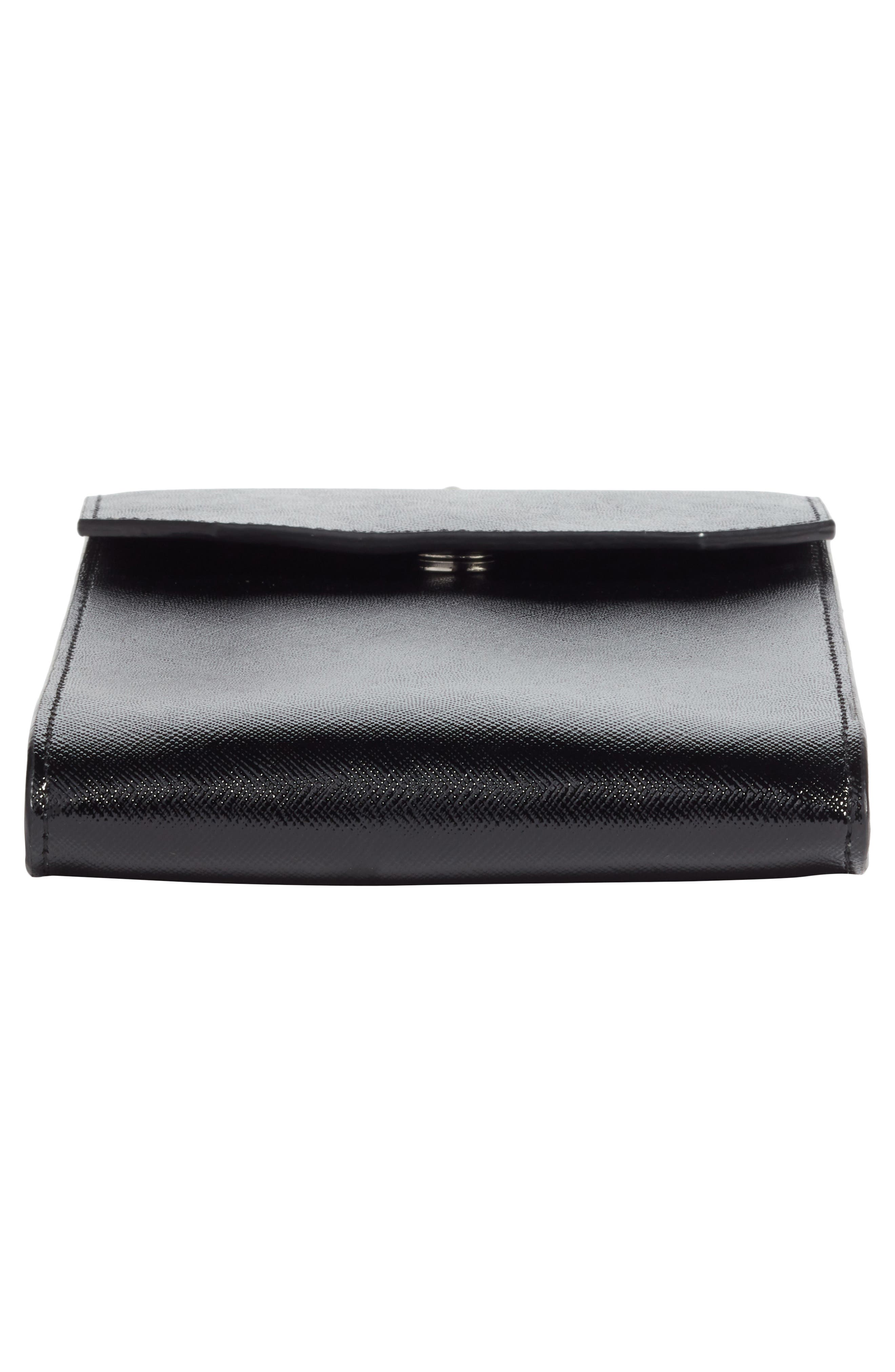 Leather Phone Crossbody Bag,                             Alternate thumbnail 6, color,                             BLACK
