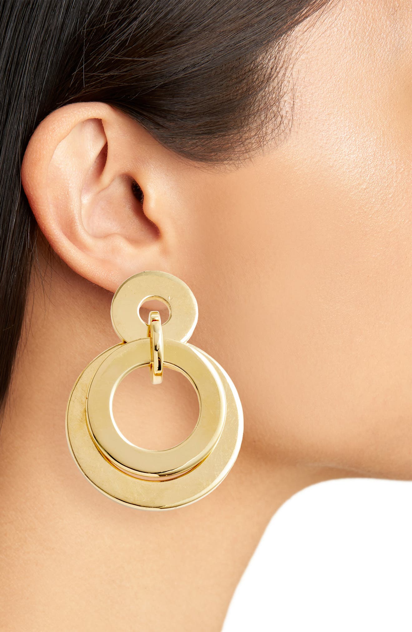 Stacked Disc Frontal Hoop Earrings,                             Alternate thumbnail 2, color,                             GOLD