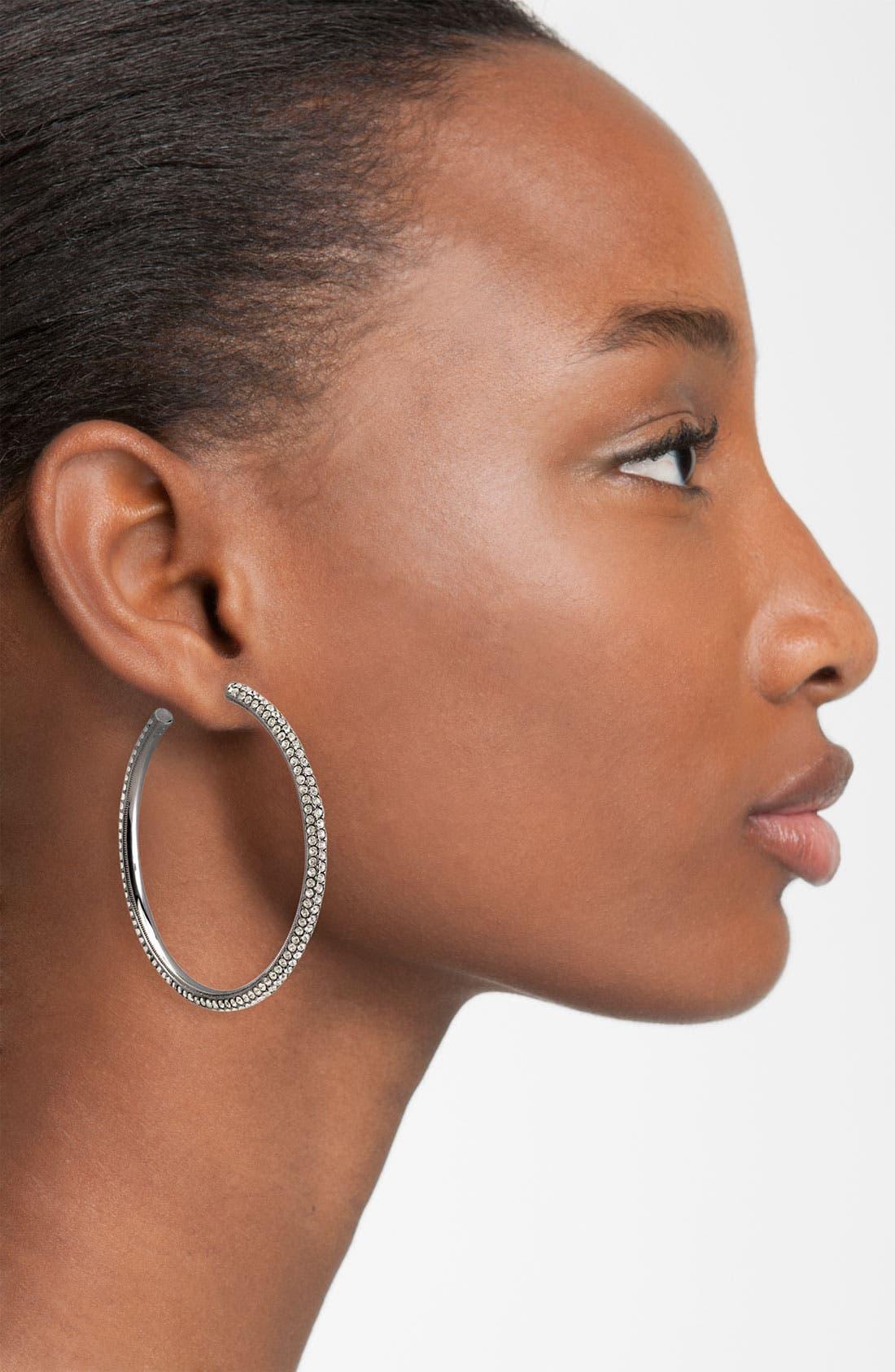 Large Pavé Crystal Hoop Earrings,                             Alternate thumbnail 3, color,                             001